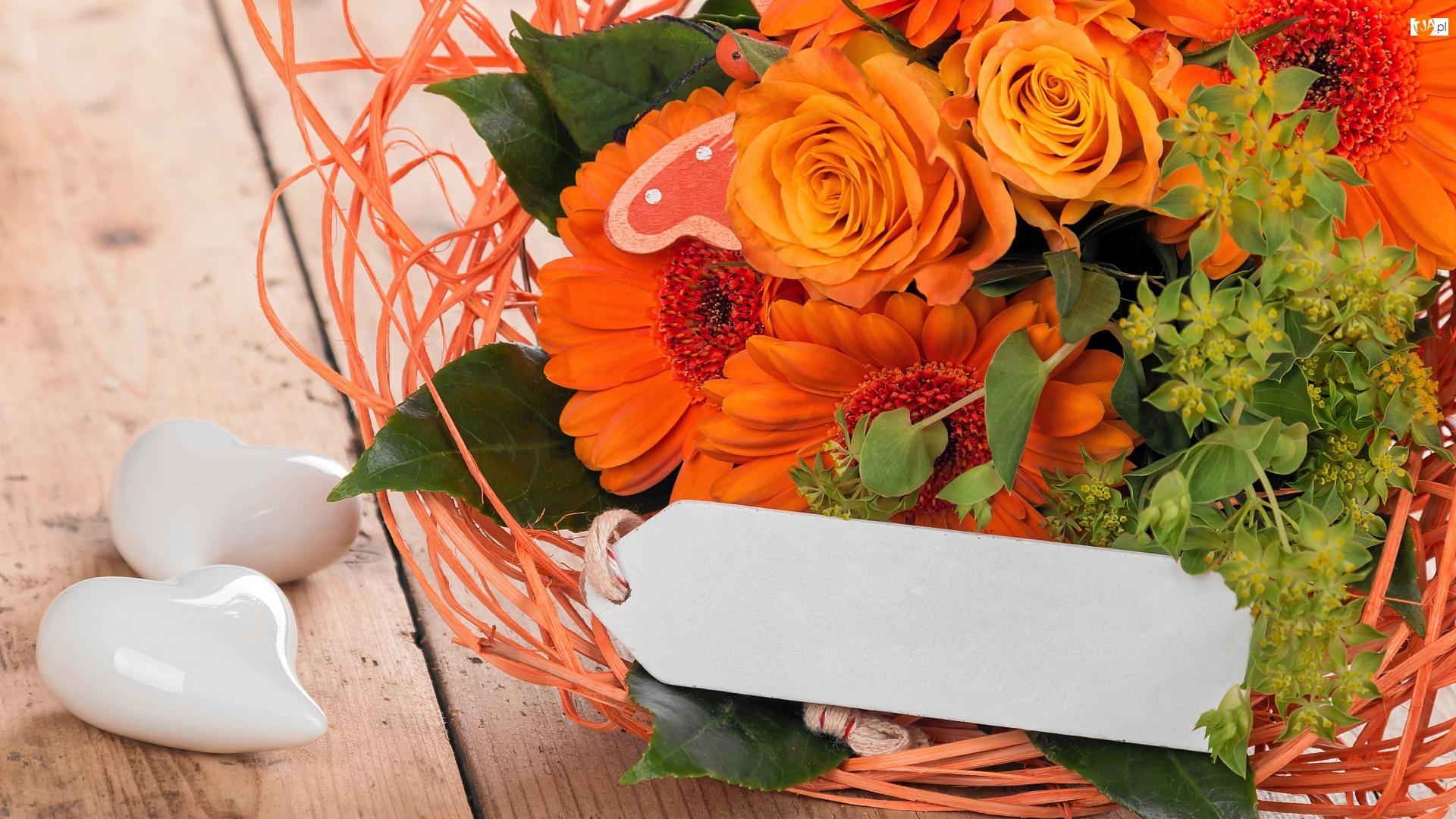 Serduszka, Pomarańczowy, Bukiet Kwiatów