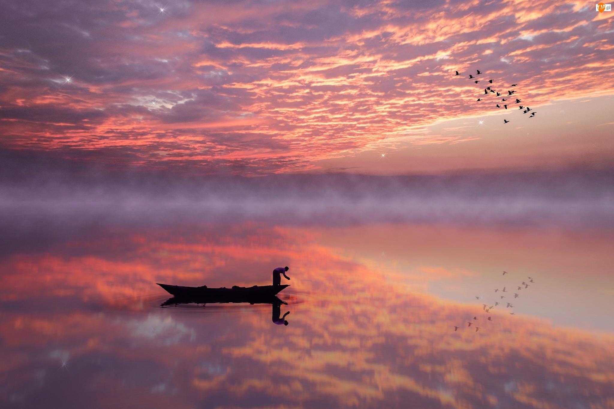 Mgła, Odbicie, Zachód słońca, Jezioro, Ptaki, Chmury, Łódka