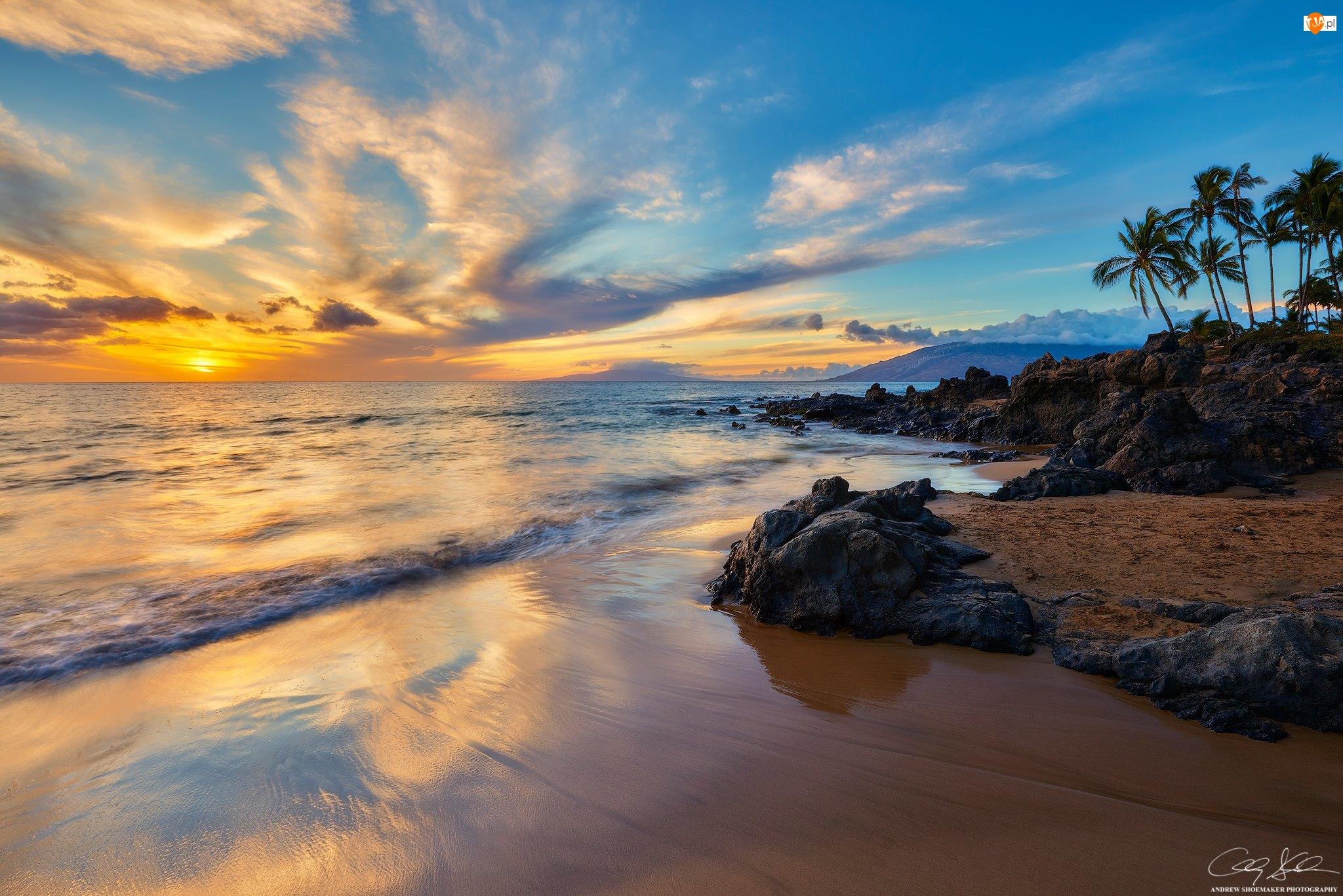 Zachód słońca, Palmy, Hawaje, Morze, Plaża Kihei, Chmury
