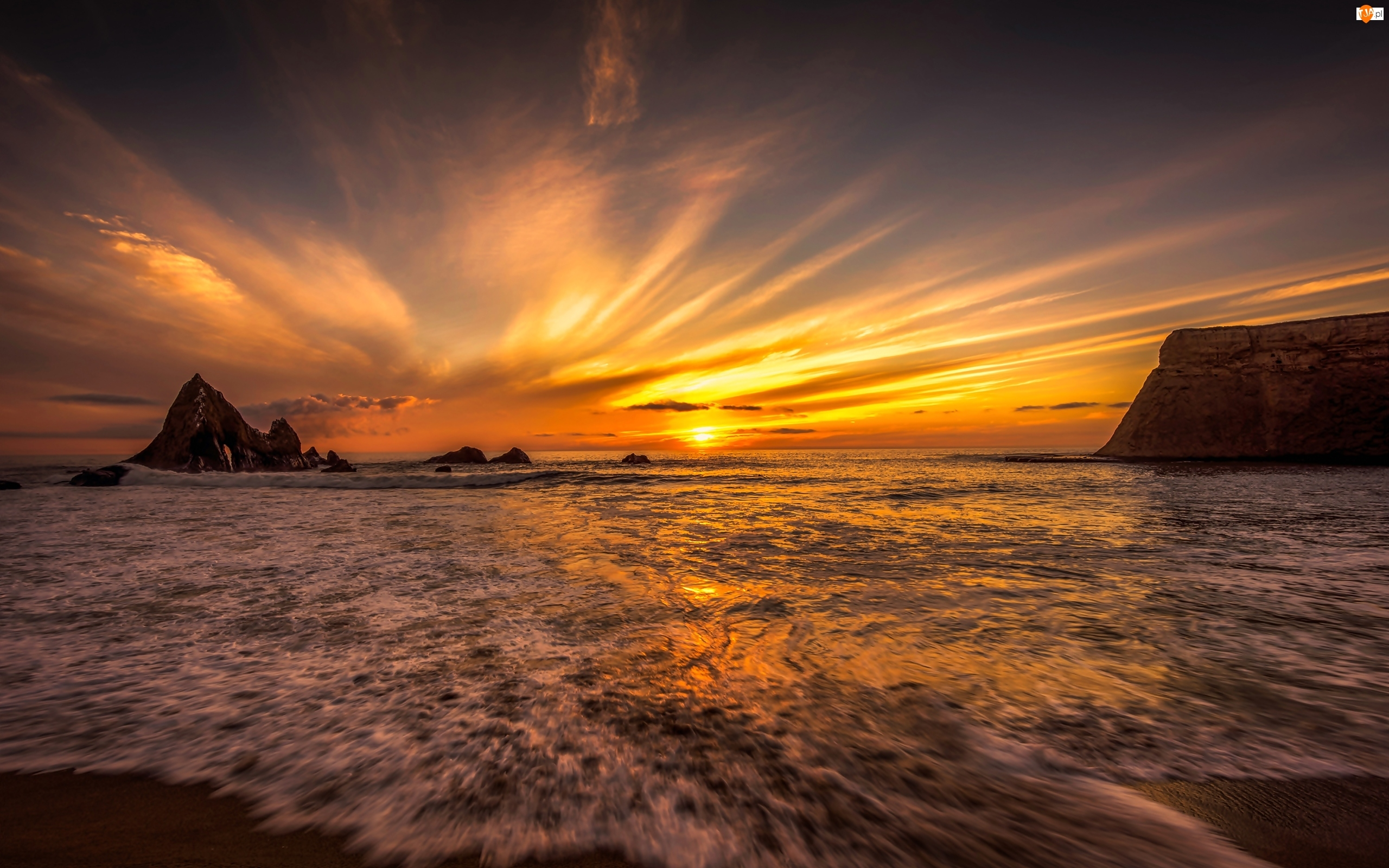 Morze, Blask, Skały, Zachód słońca