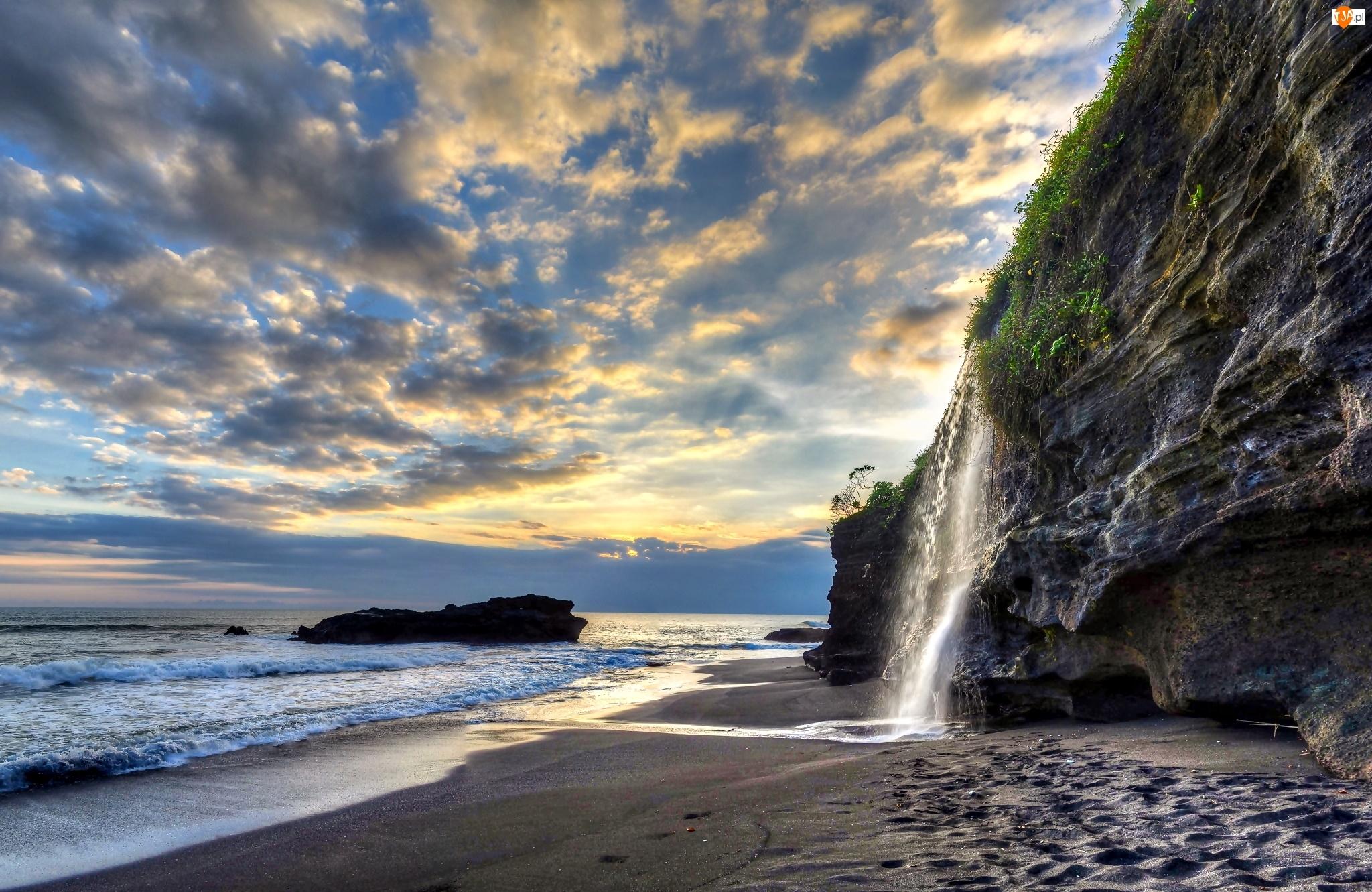 Skały, Plaża, Bali, Indonezja, Wodospad, Melasti, Morze