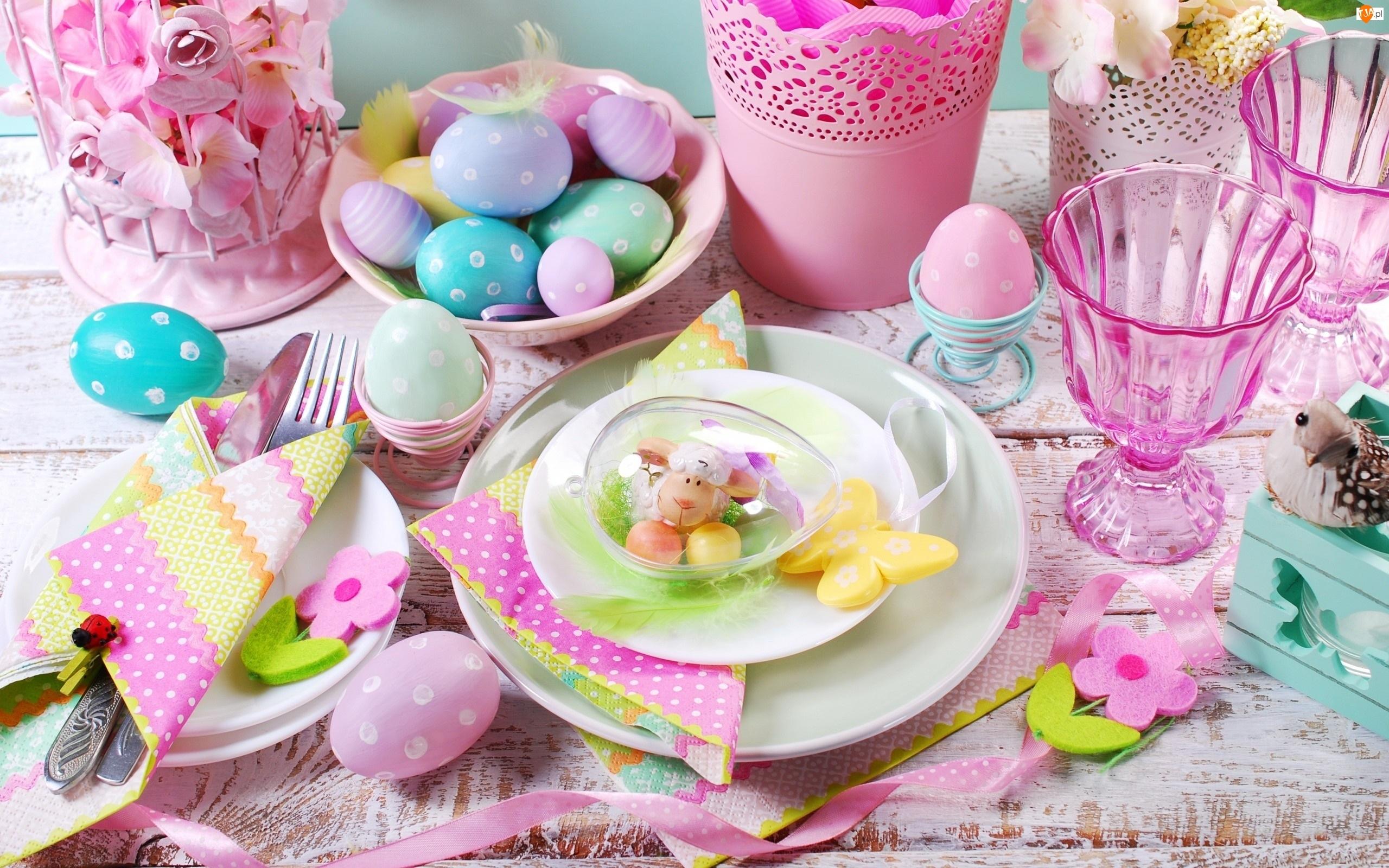 Stół, Wielkanoc, Baranek, Pisanki, Dekoracja