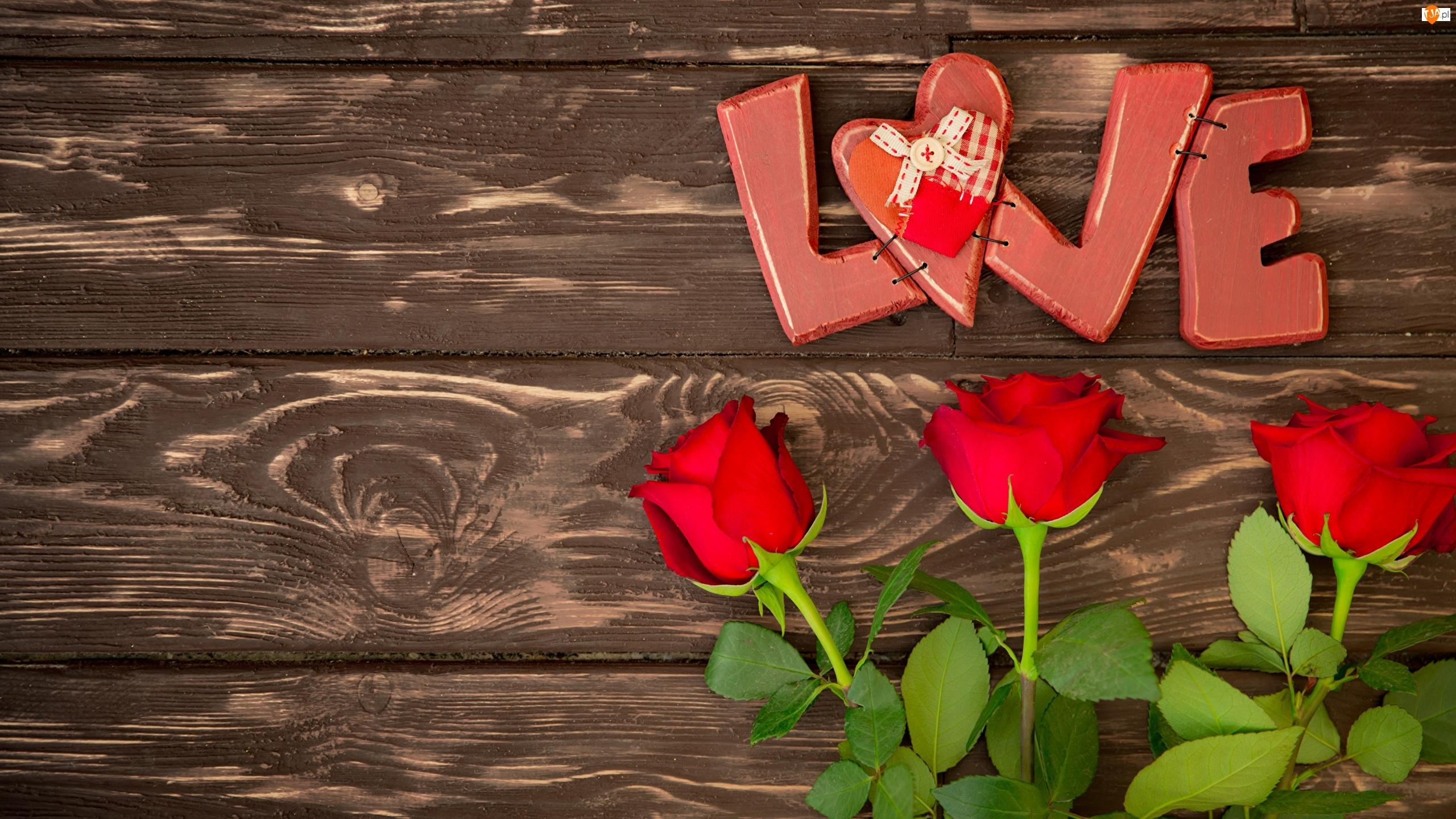 Róże, Miłość, Trzy, Serduszko, Czerwone