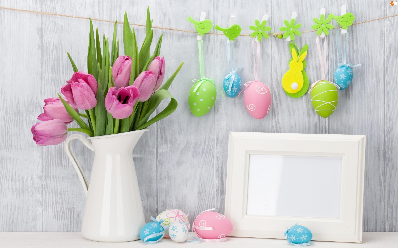 Tulipany, Dzbanek, Kompozycja, Ozdoby, Wielkanoc, Ramka, Bukiet, Pisanki