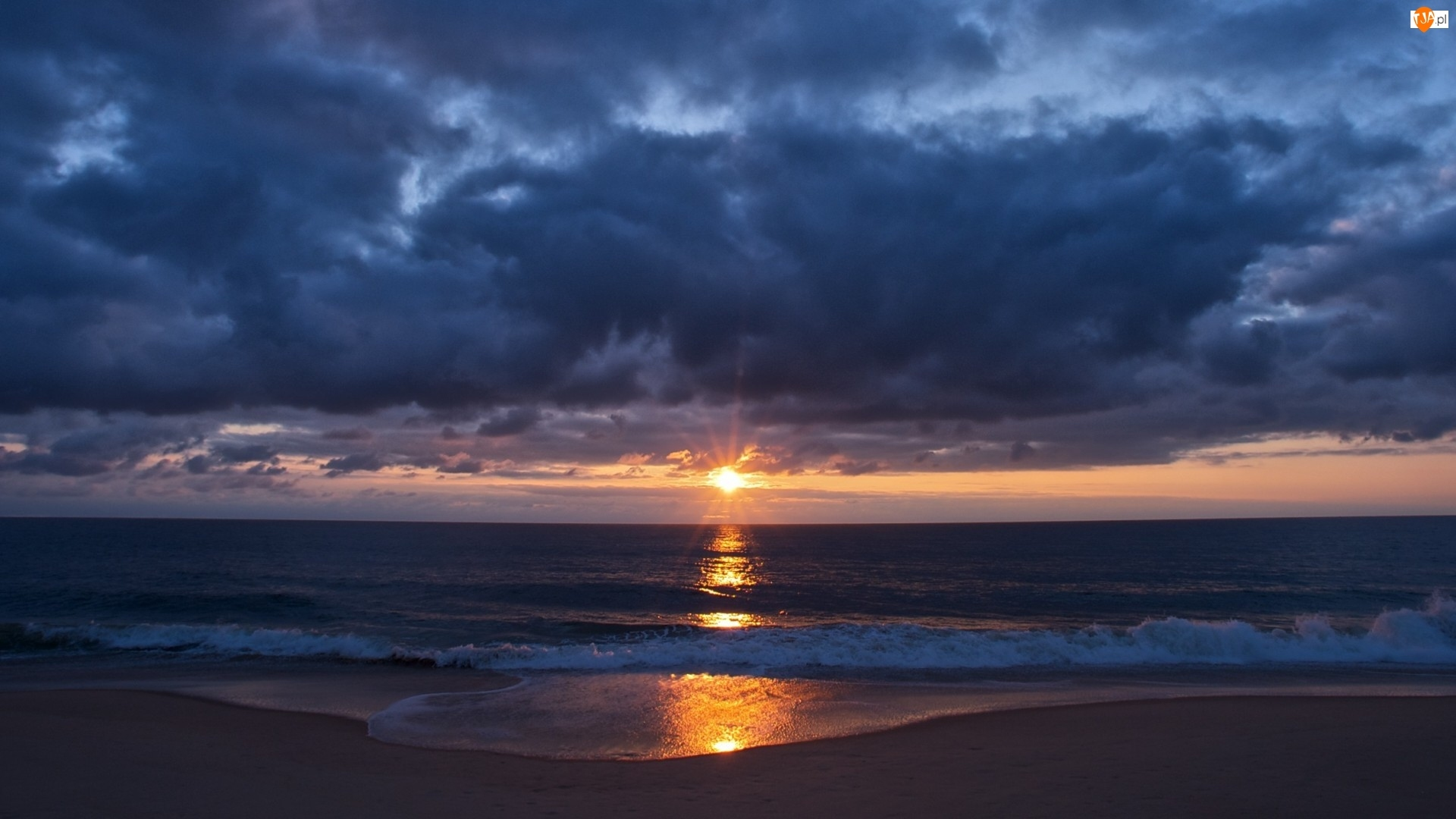 Morze, Zachód Słońca, Ciemne, Chmury