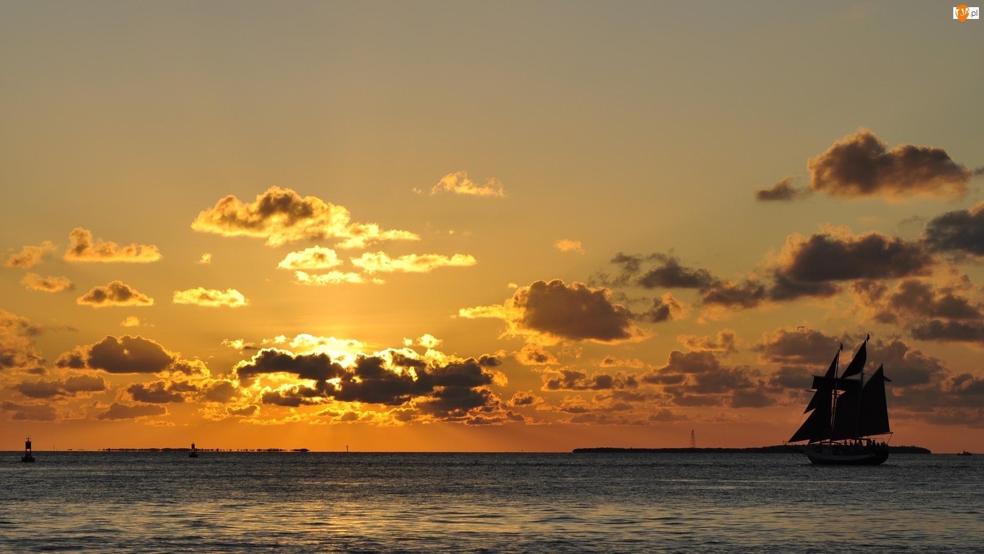 Morze, Chmury, Żaglowiec, Zachód słońca