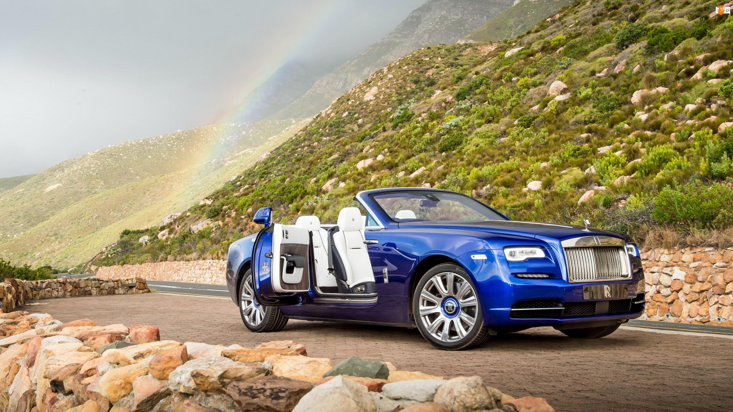 Kabriolet, Tęcza, Rolls Royce Dawn, Wzgórza, Niebieski, Droga, 2016, Kamienie
