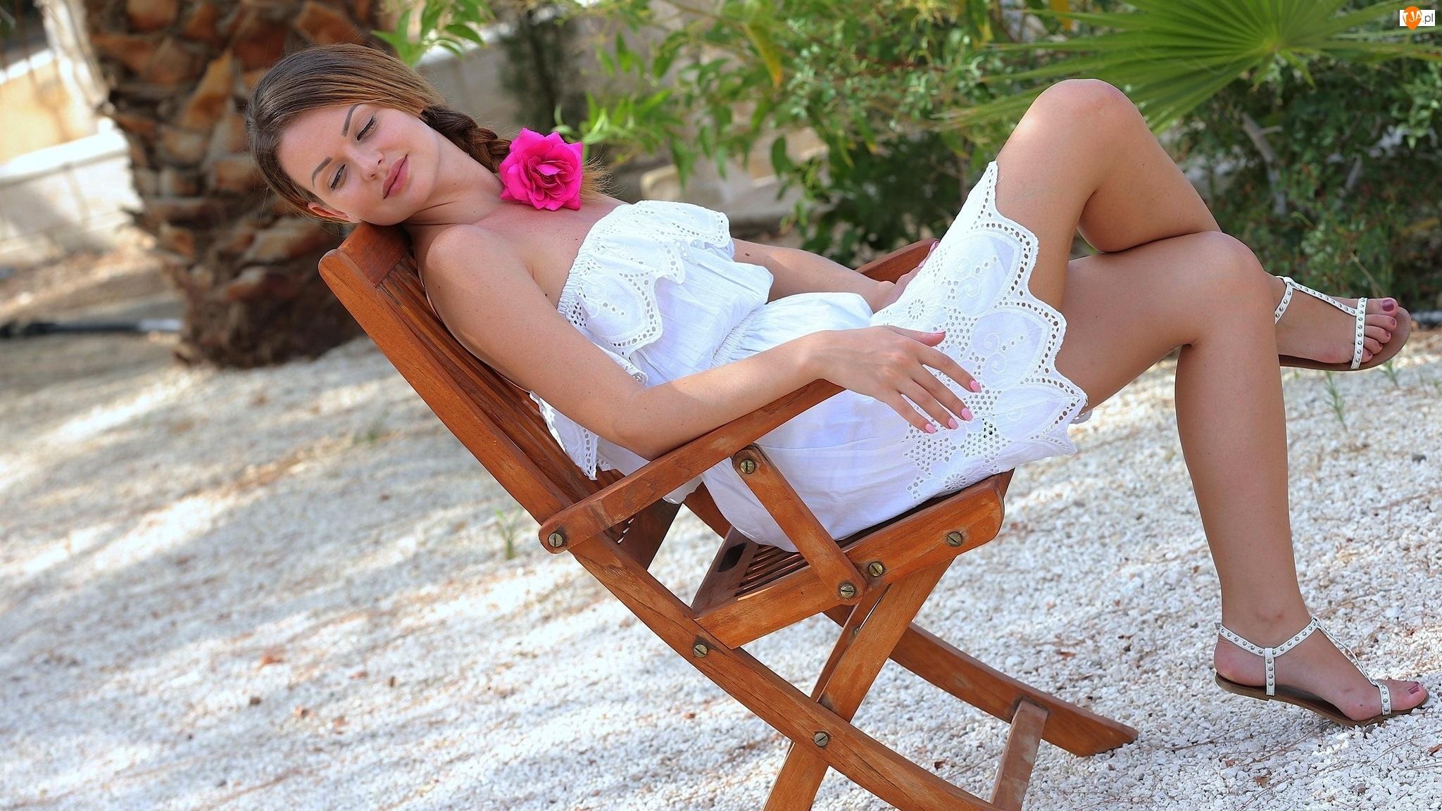 Kobieta, Rośliny, Krzesło, Róża