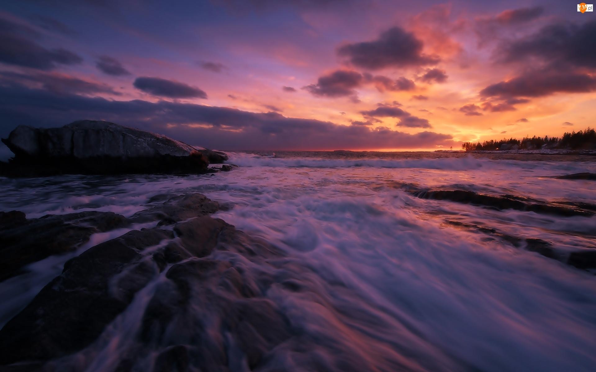 Ocean Atlantycki, Zachód słońca, Stany Zjednoczone, Skały, Stan Maine, Chmury