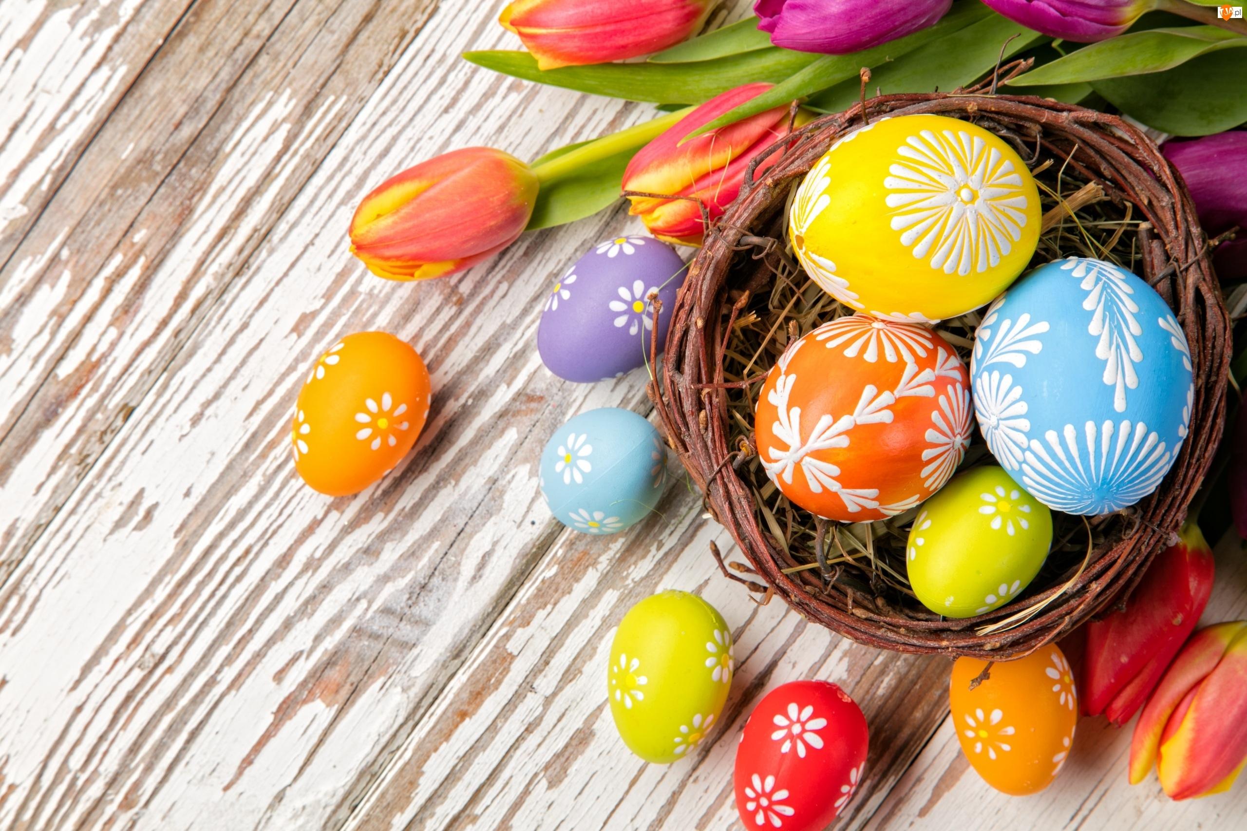 Tulipany, Wielkanoc, Pisanki, Dekoracja, Koszyk