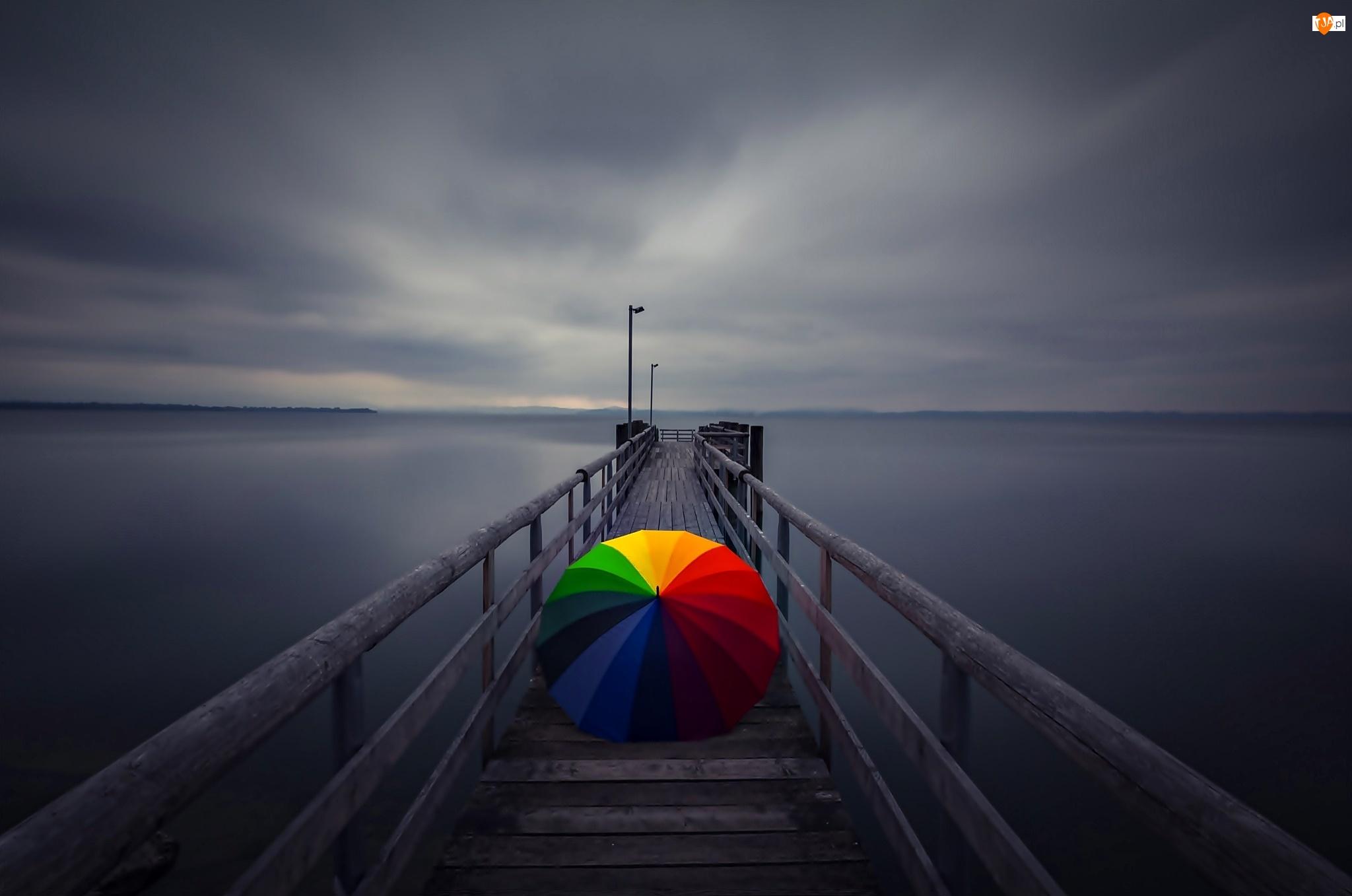Molo, Zmierzch, Parasol, Morze