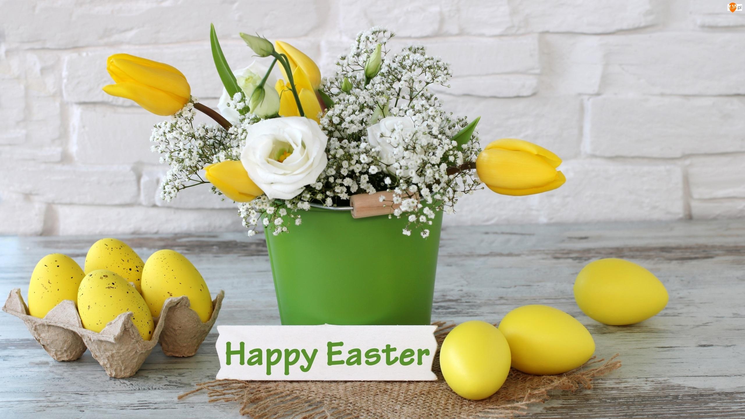 Pisanki, Wielkanoc, Bukiet, Kompozycja, Tulipany