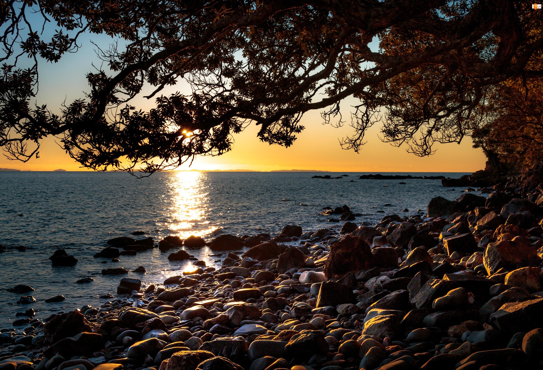 Kamienie, Morze, Wschód słońca