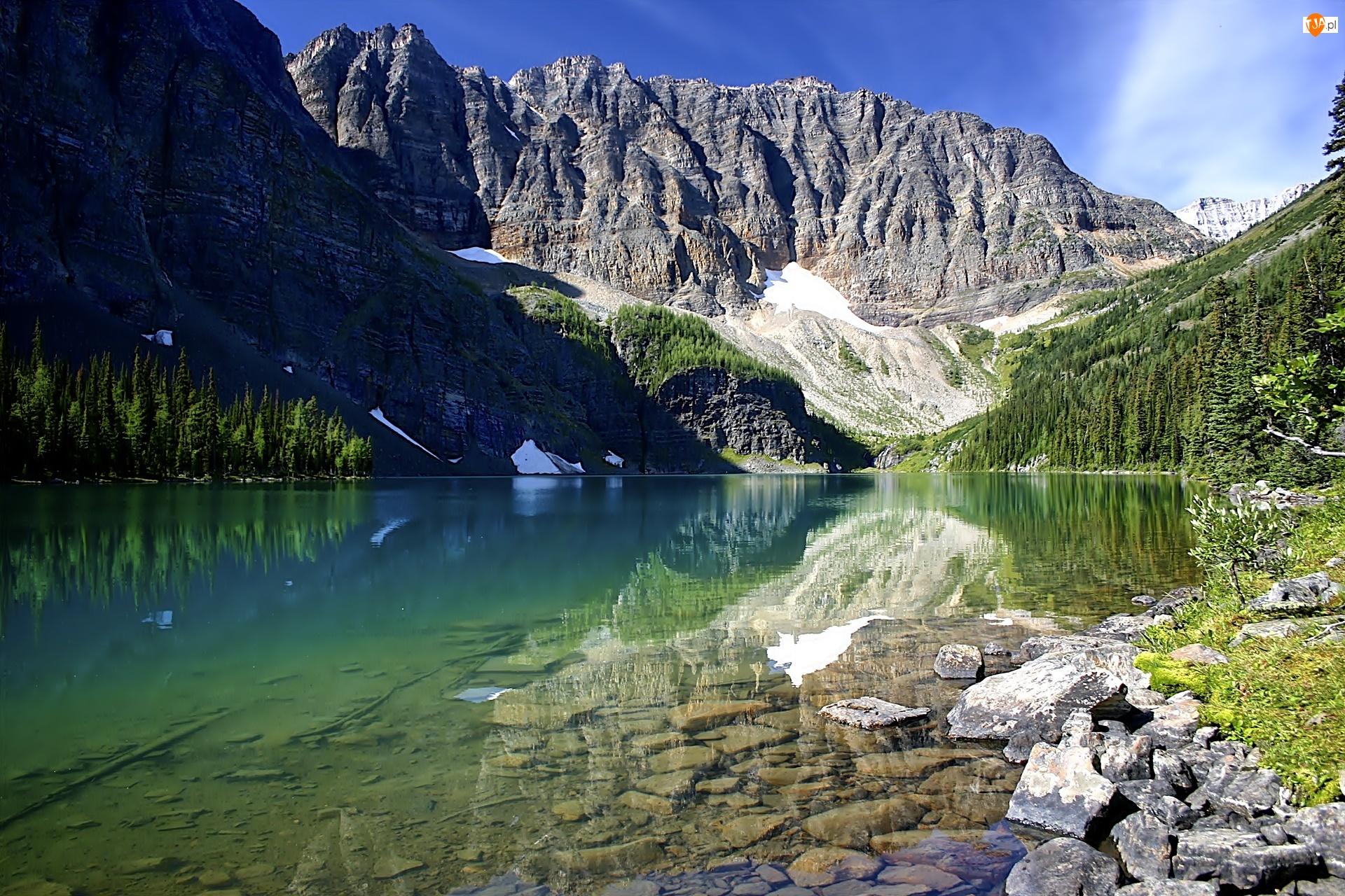 Góry, Drzewa, Jezioro, Skały