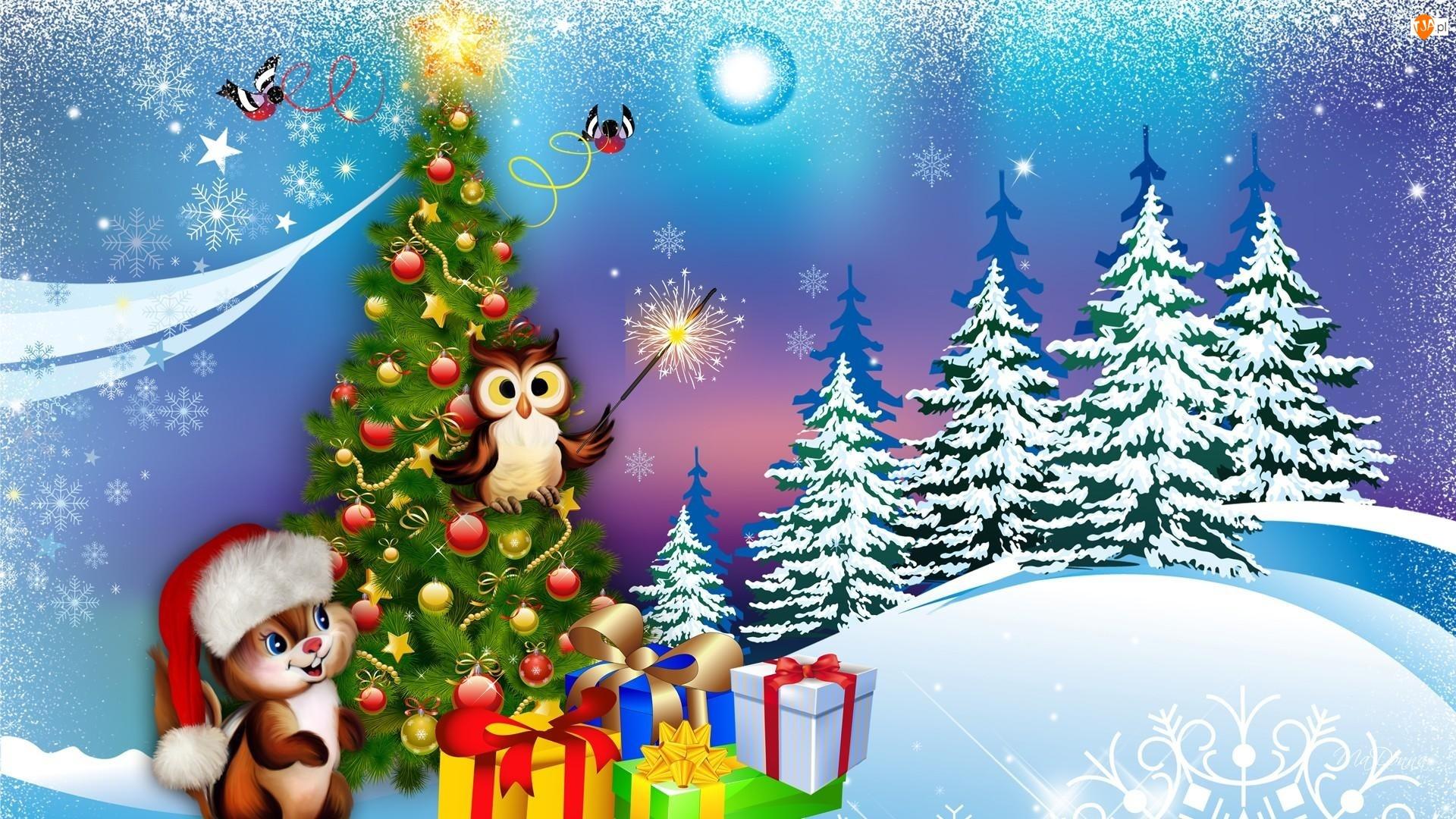 śnieg, choinka, sowa, boże narodzenie, prezenty