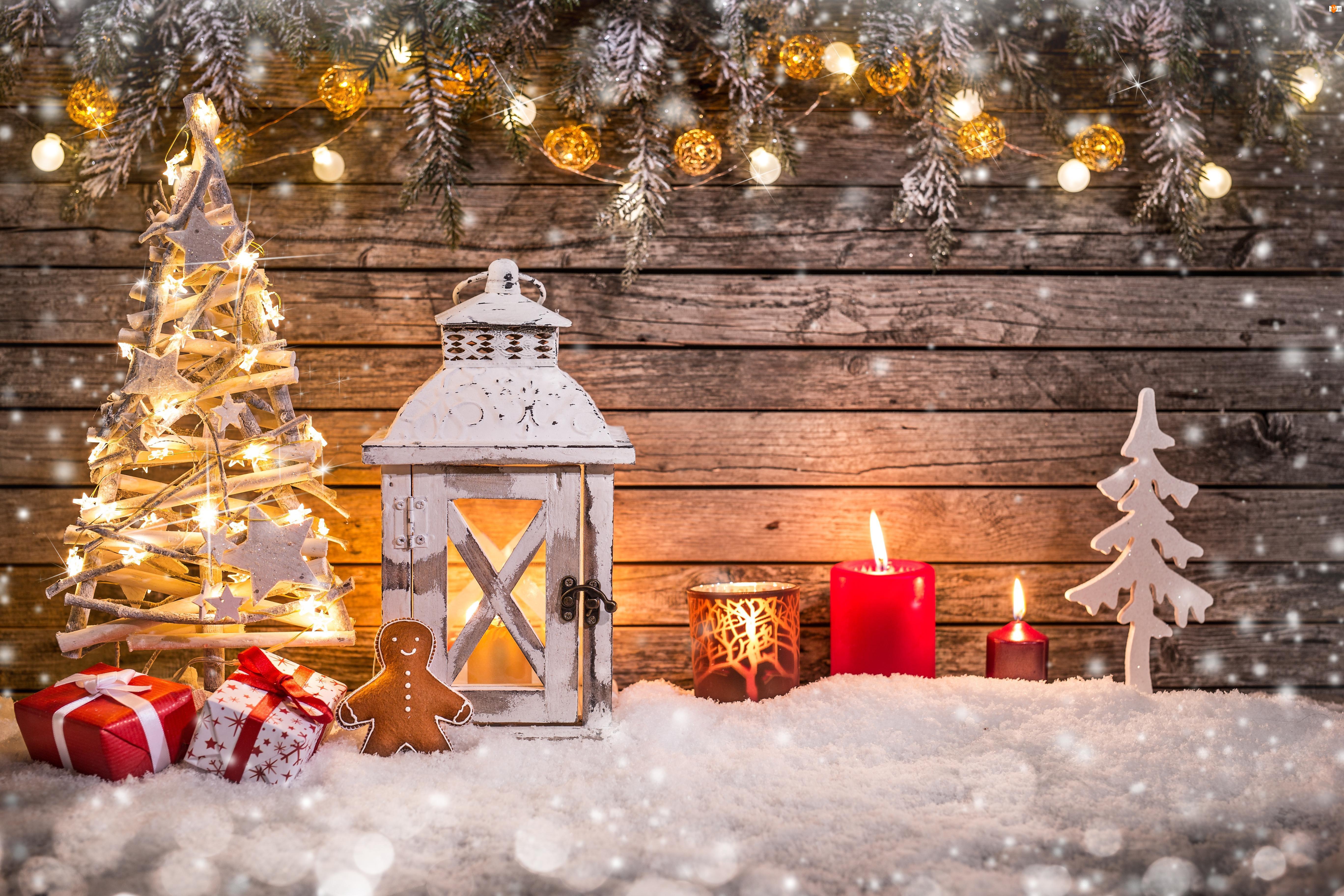 Kompozycja, Boże Narodzenie, Świece, Lampion, Prezenty