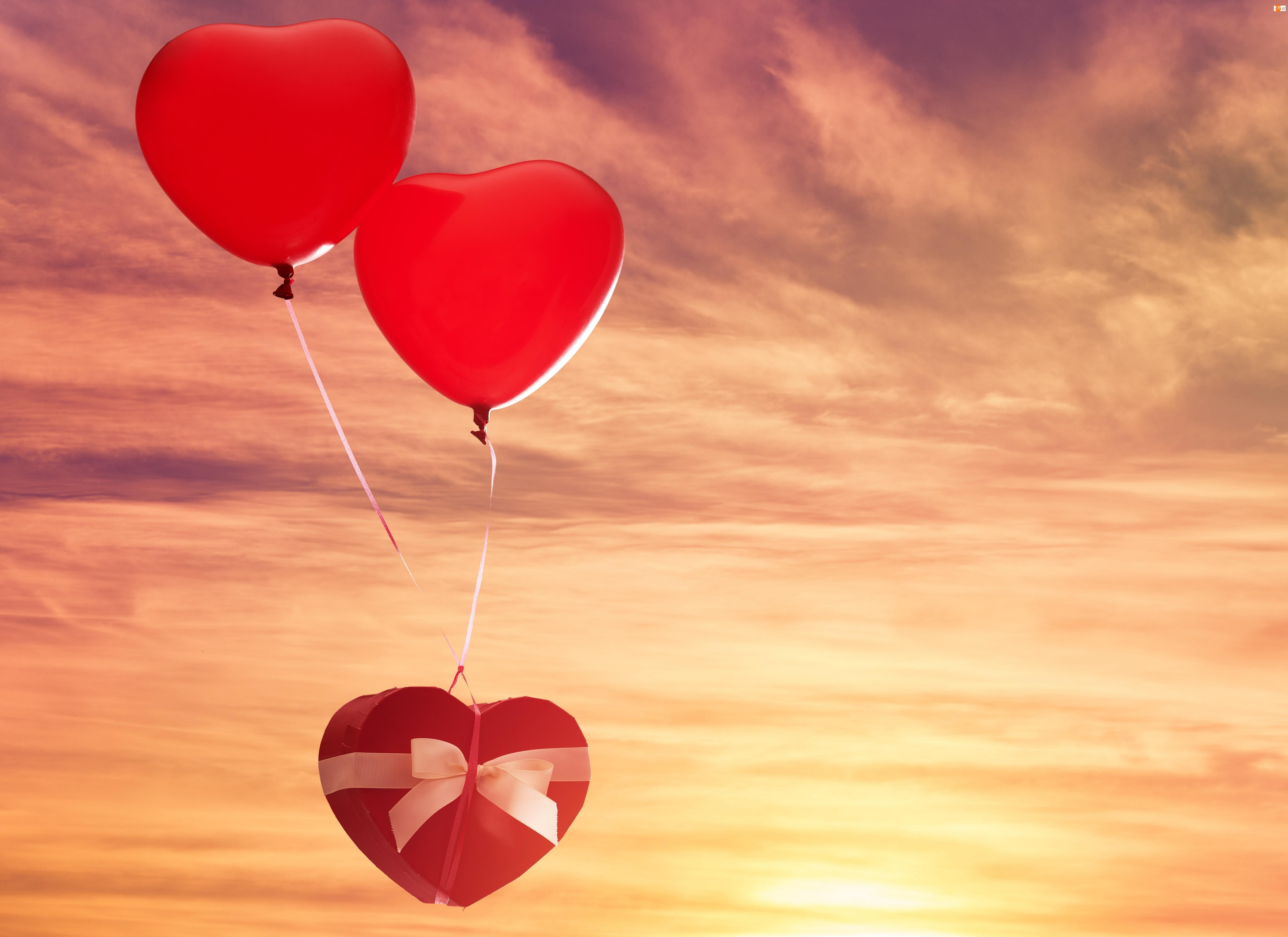 Walentynki, Niebo, Balony, Serca