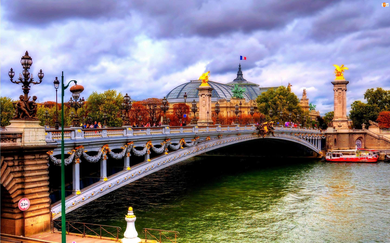 Fragment, Chmury, Sekwana, Most, Miasta, Łódź, Paryż