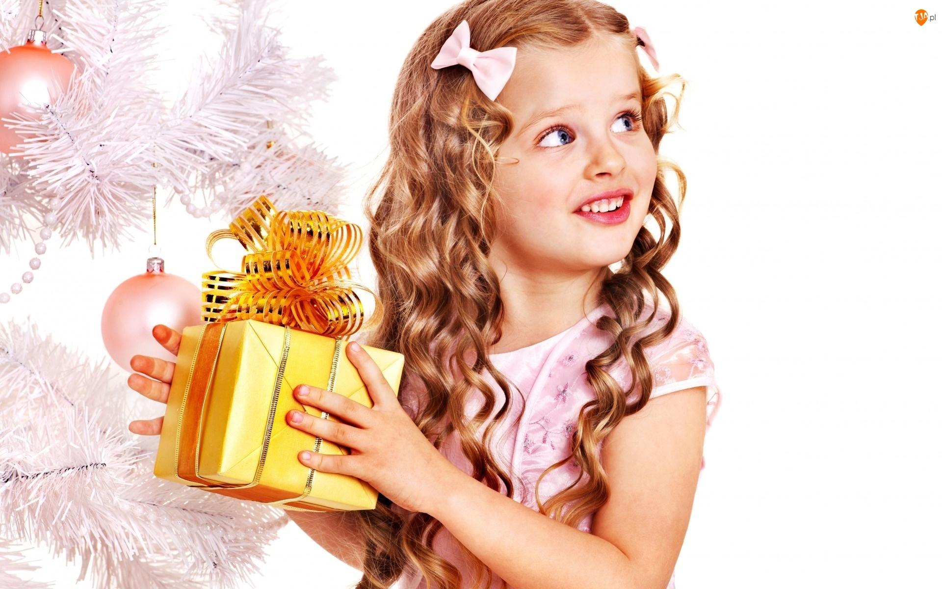 Dziewczynka, Choinka, Świąteczny, Prezent