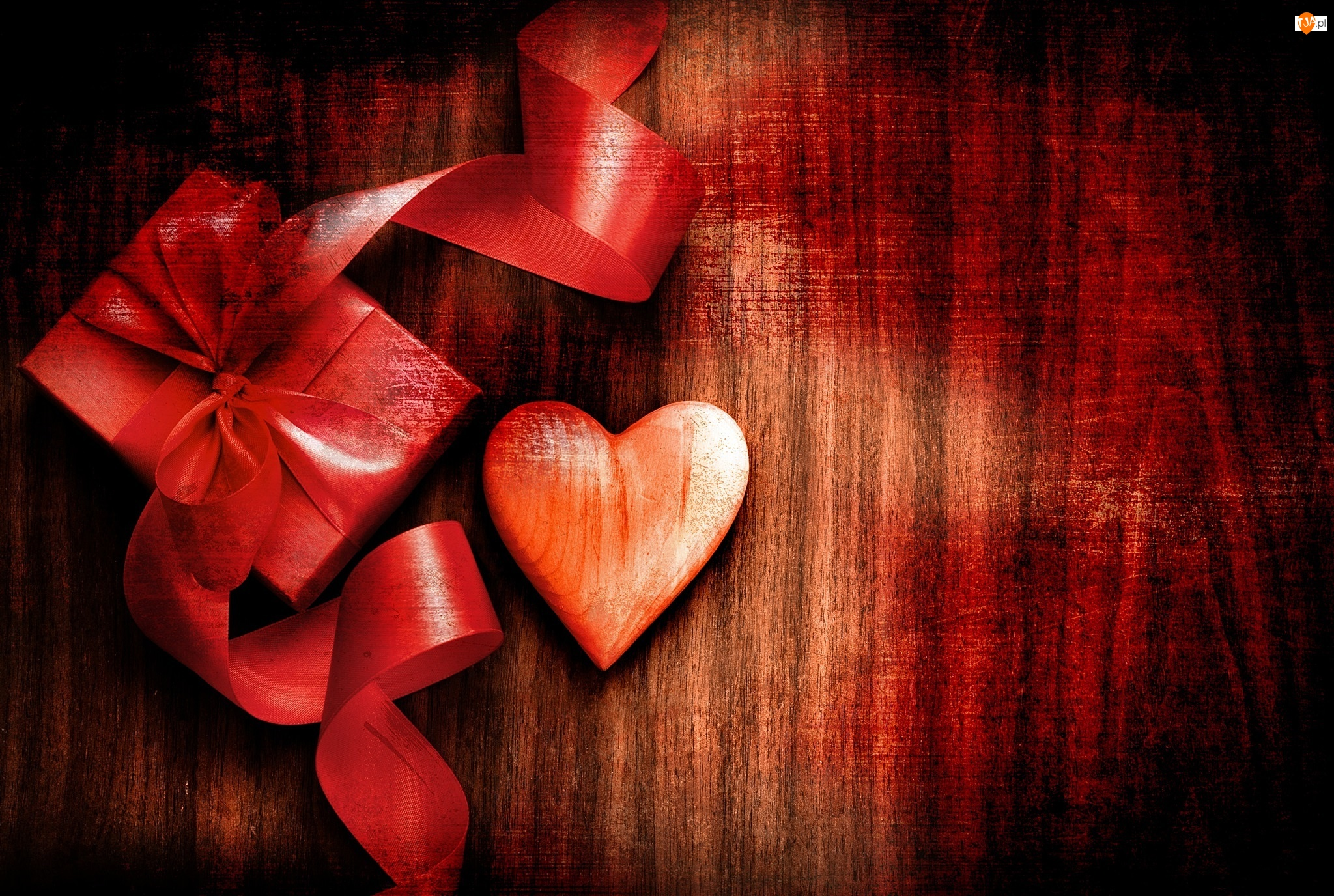 Prezent, Walentynki, Wstążka, Serce