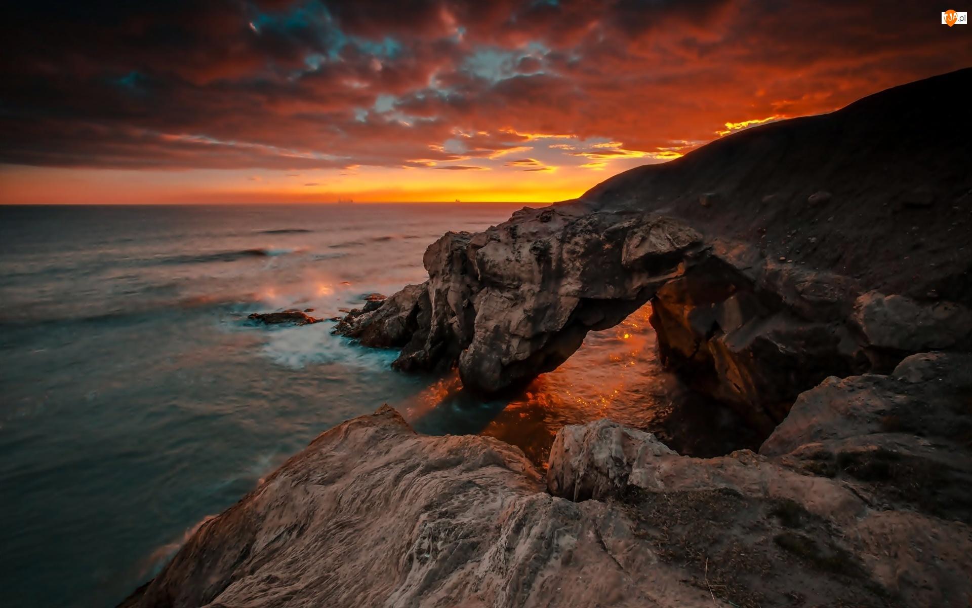Wschód Słońca, Skały, Morze, Wybrzeże