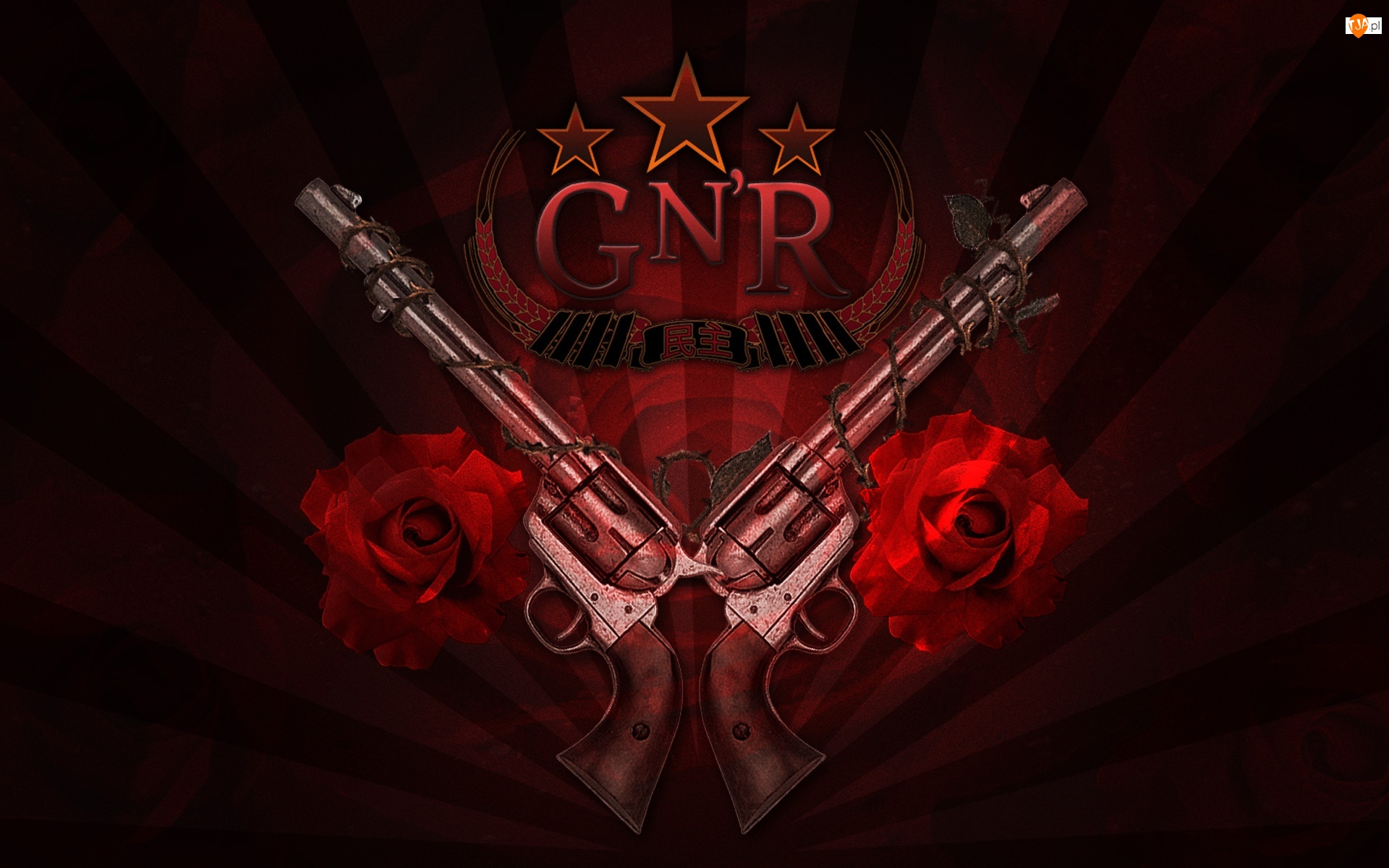 Guns And Roses, róże, logo, pistolety