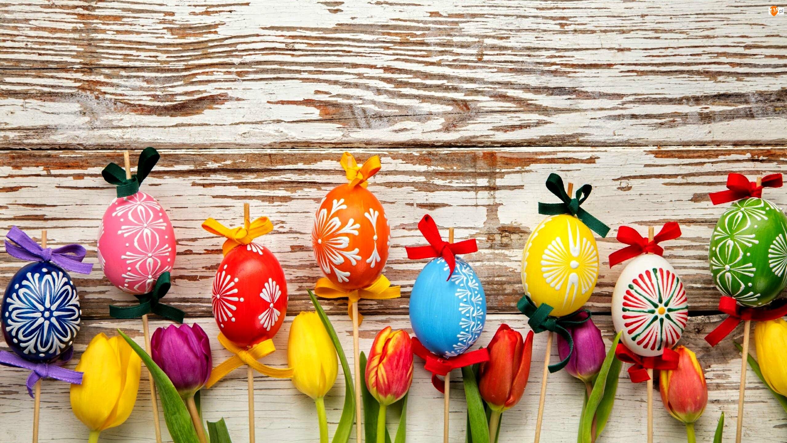 Wielkanoc, Tulipany, Dekoracja, Pisanki