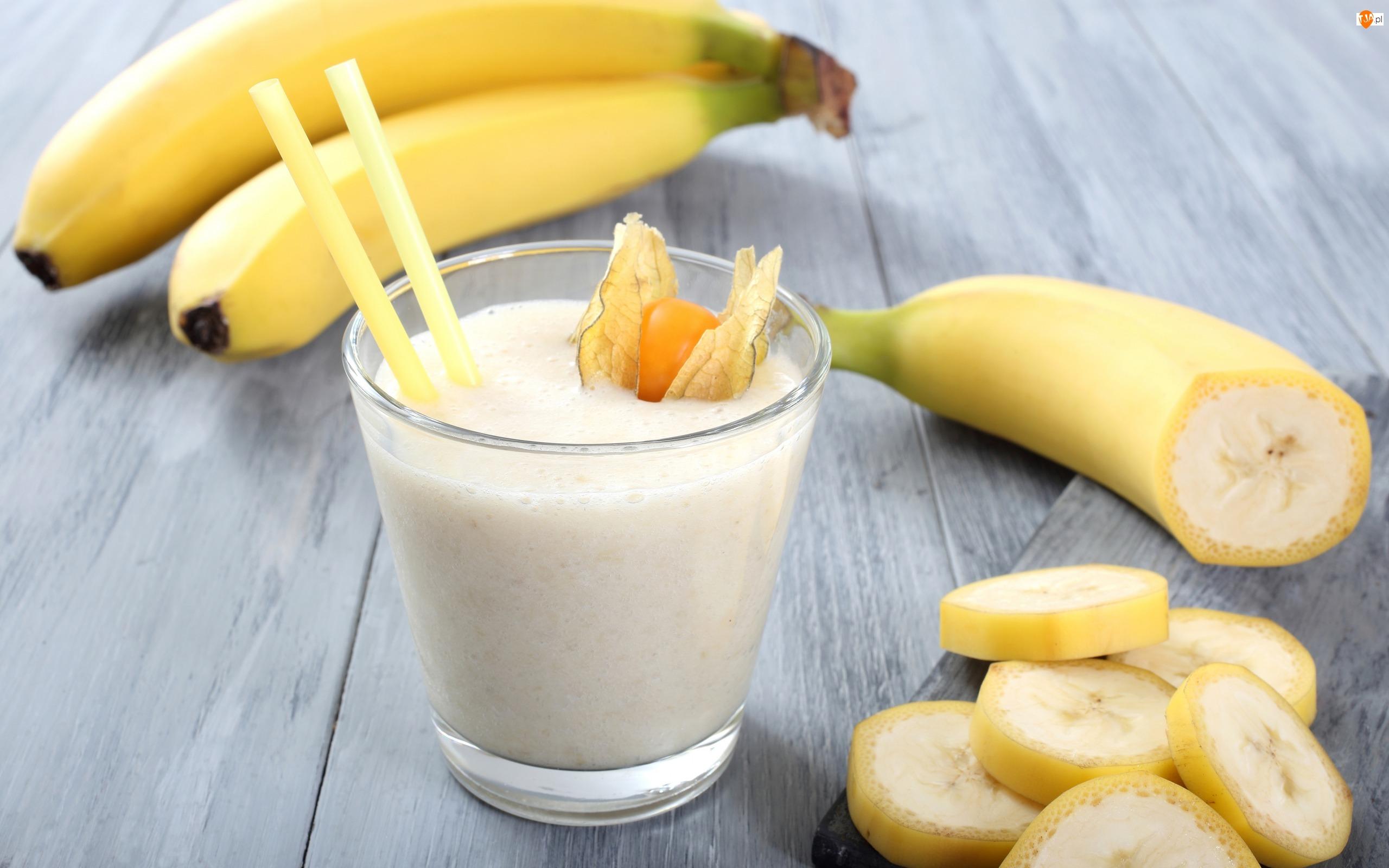 Koktajl, Szklanka, Bananowy, Banany