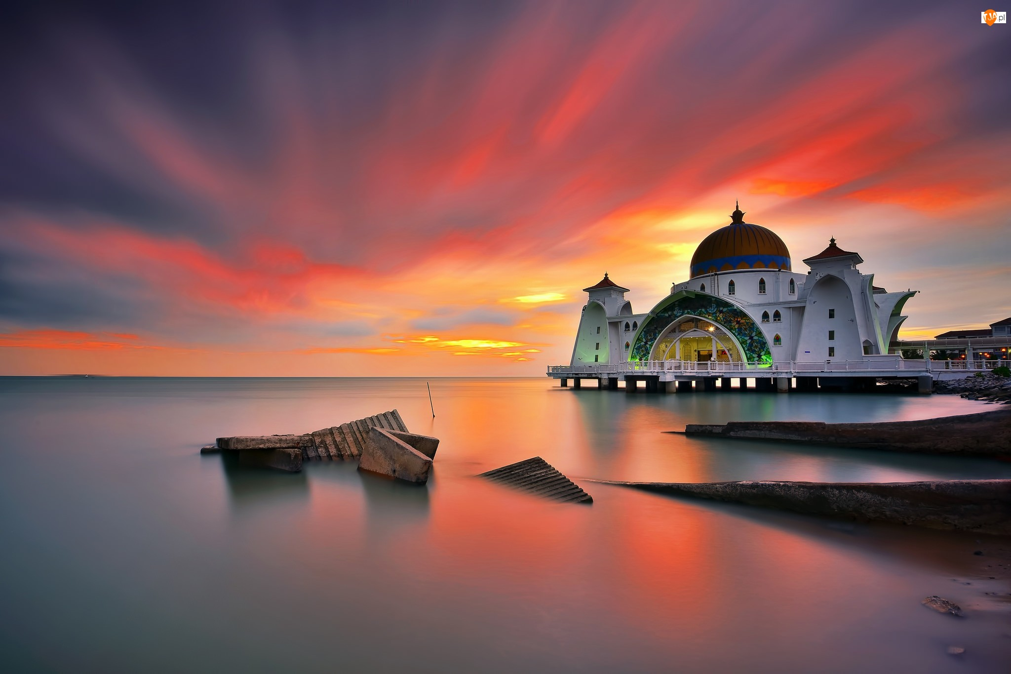 Malezja, Zachód słońca, Cieśnina Malakka, Meczet