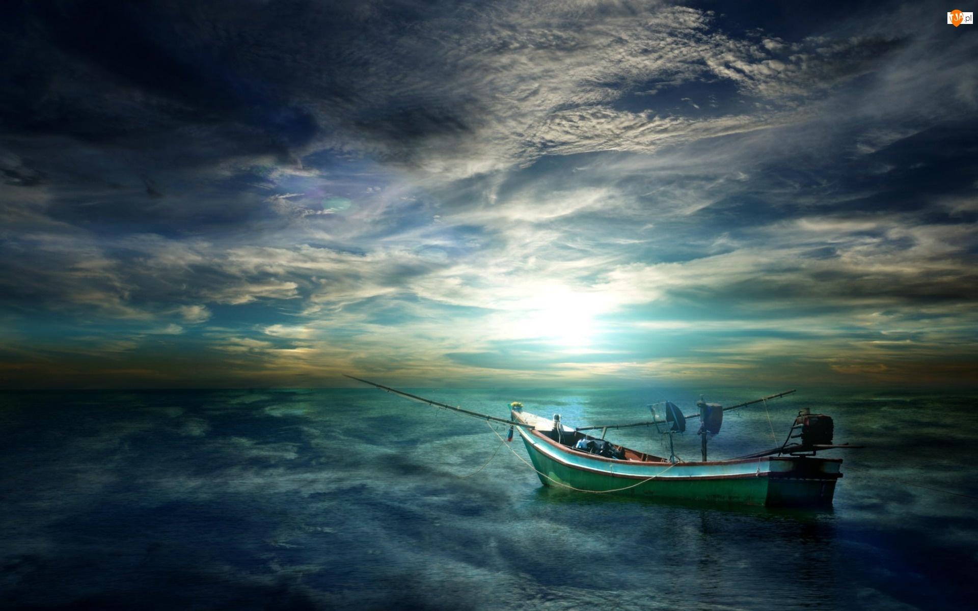 Morze, Ciemne, Łódka, Chmury, Wędki, Fale