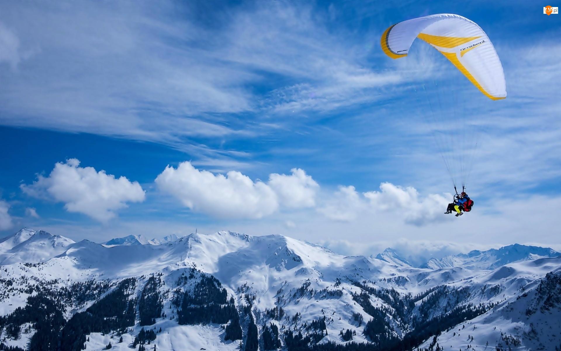 Zima, Paralotnia, Sport, Ludzie, Góry