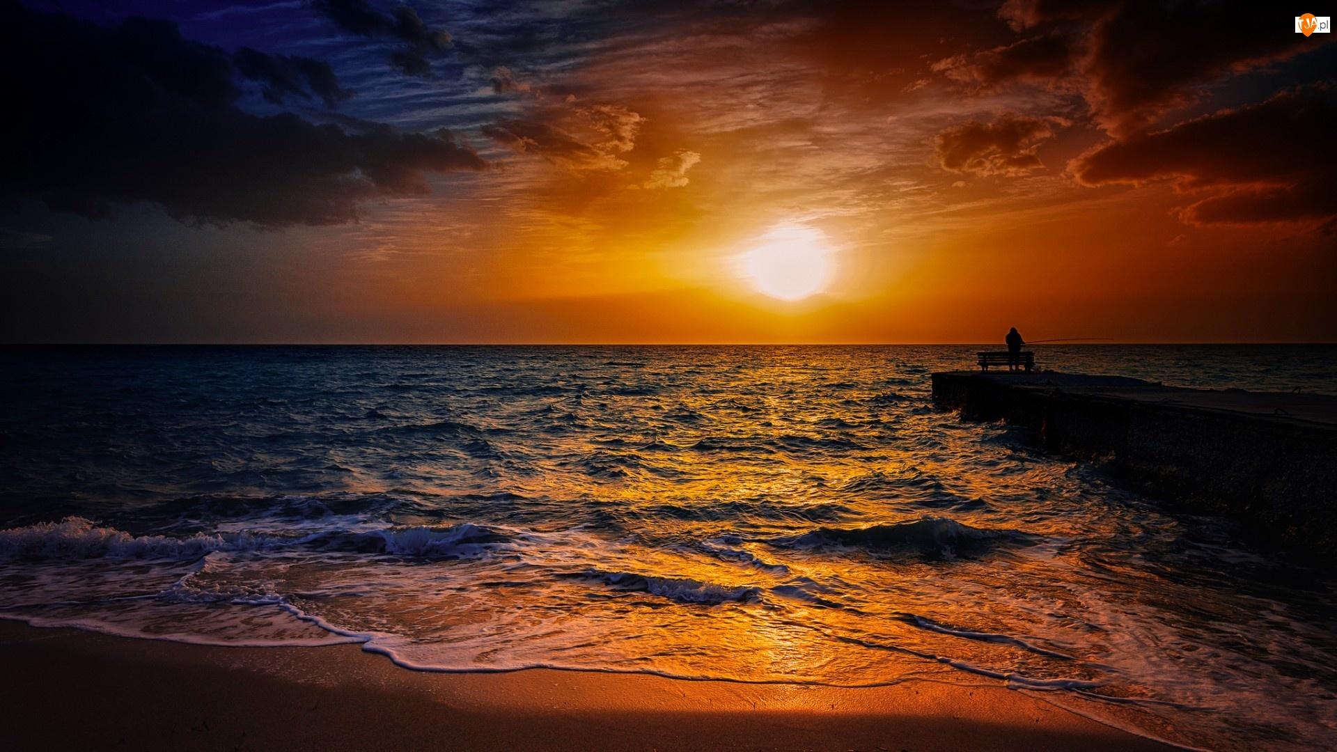 Wędkarz, Zachód, Morze, Słońca, Molo, Chmury