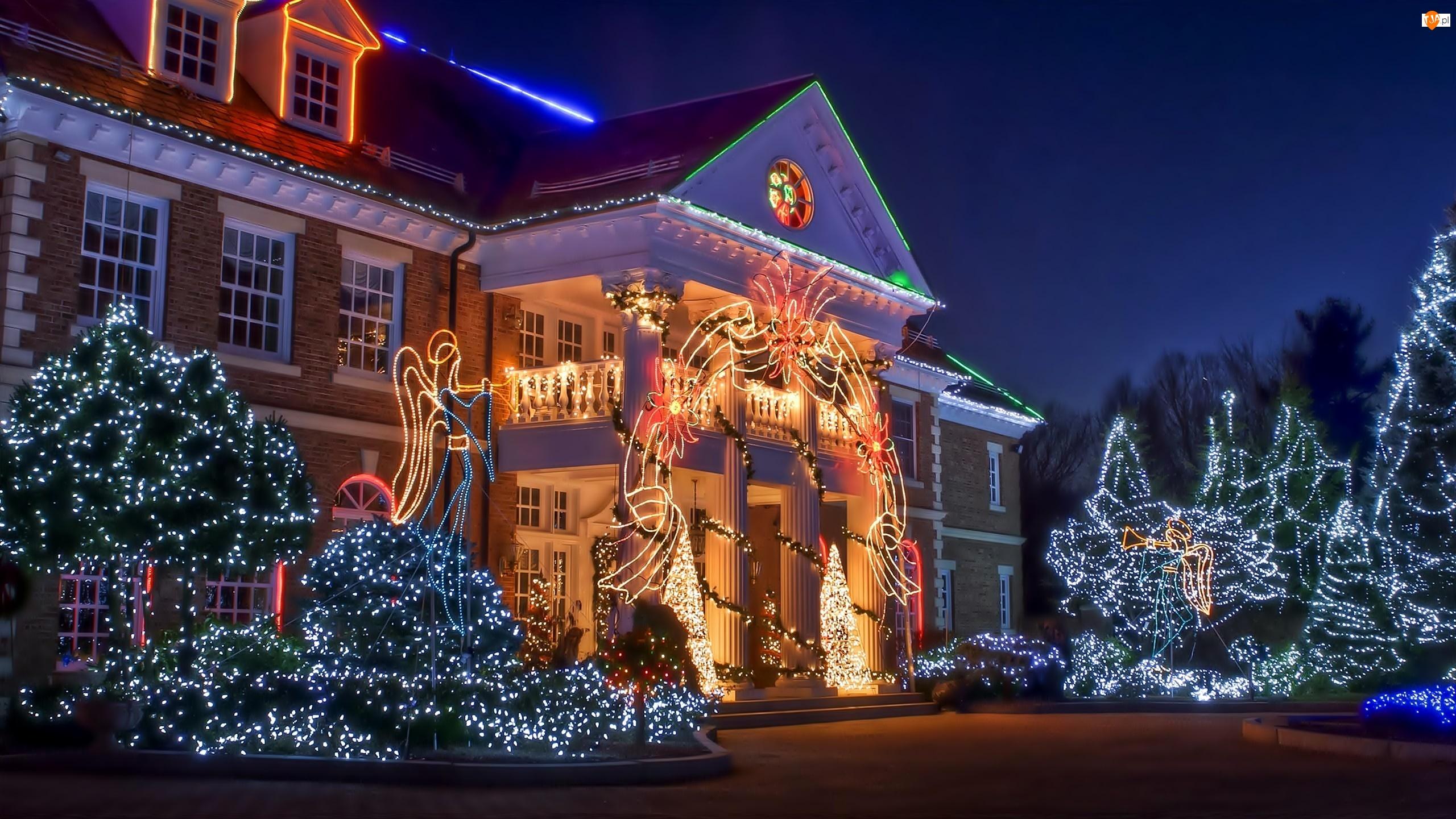 Dom, Świąteczne, Ogród, Dekoracje
