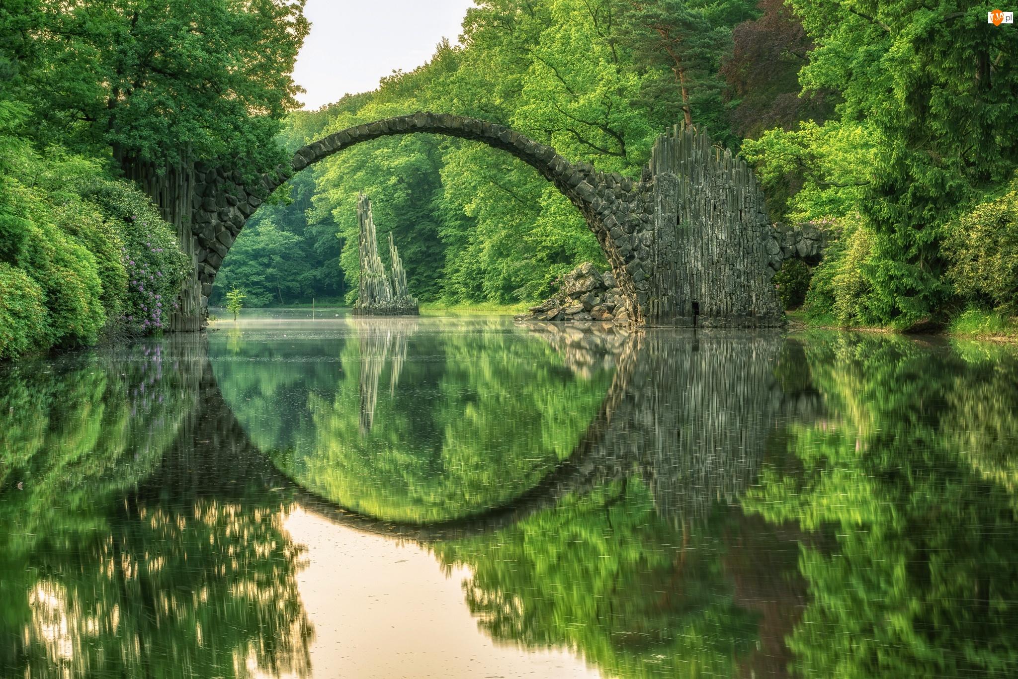 Jezioro, Niemcy, Kamienny, Jezioro Rakotz, Most