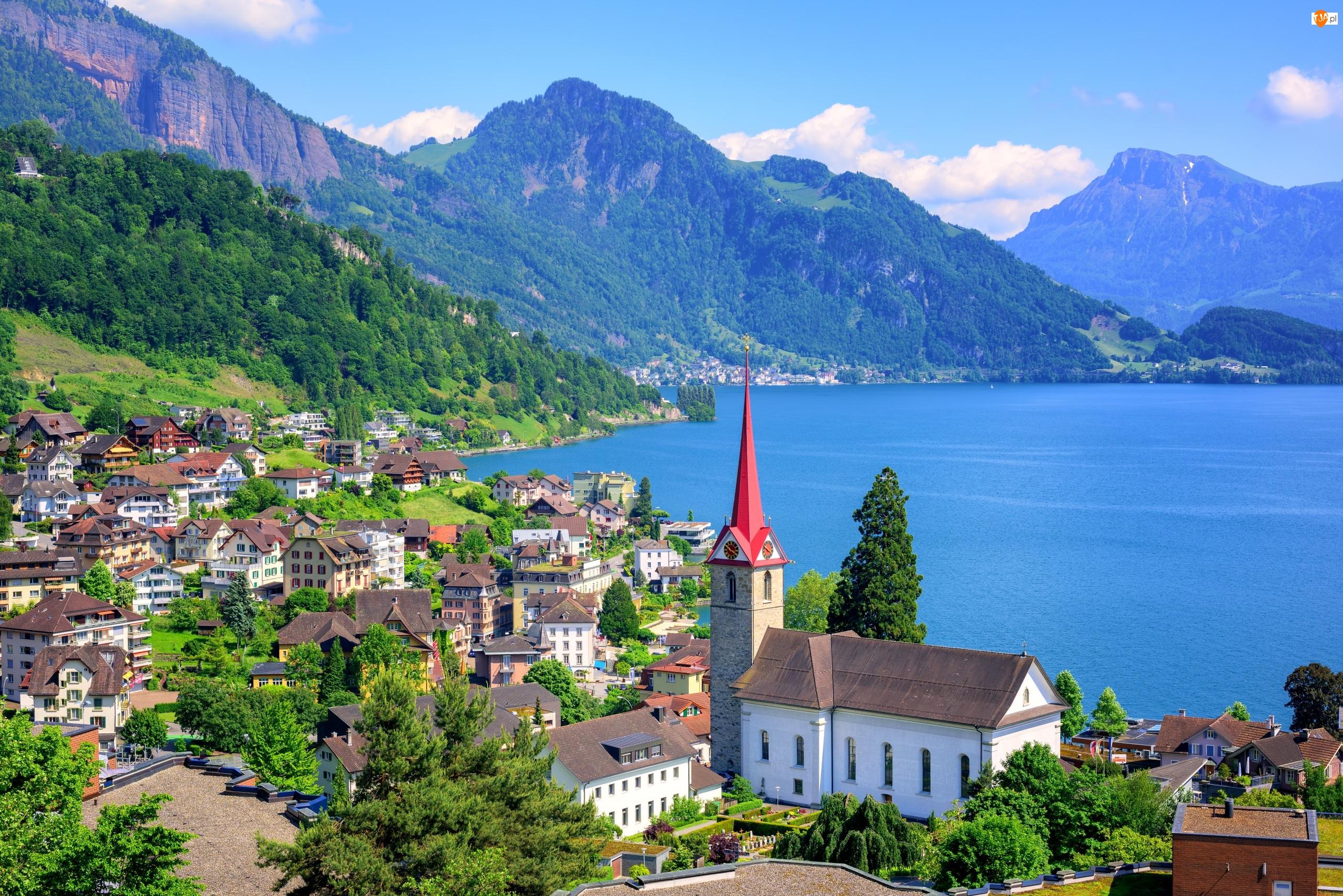 Kanton Lucerna, Jezioro Czterech Kantonów, Szwajcaria, Kościół, Weggis, Góry