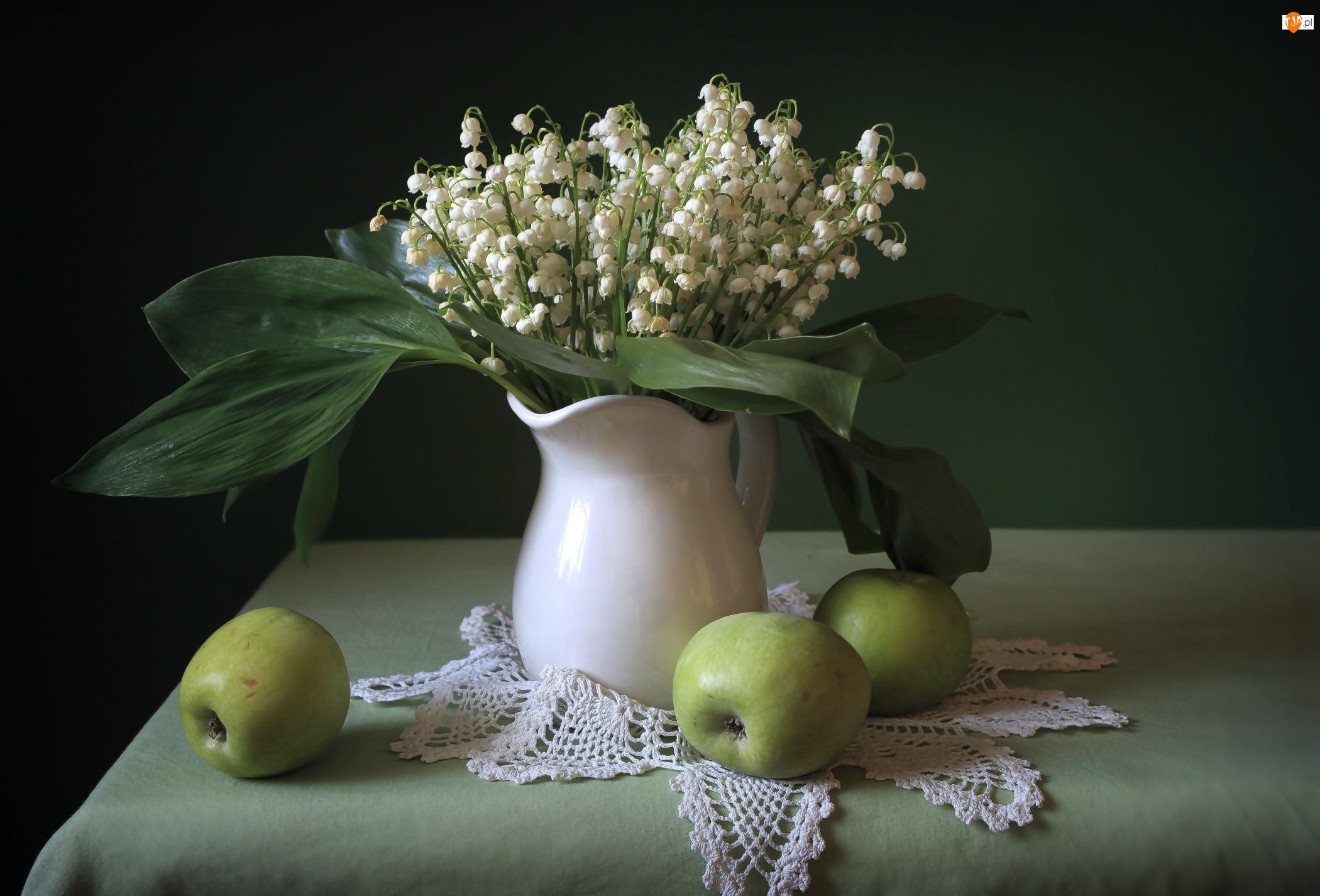 Jabłka, Kompozycja, Konwalie majowe, Bukiet, Dzbanuszek