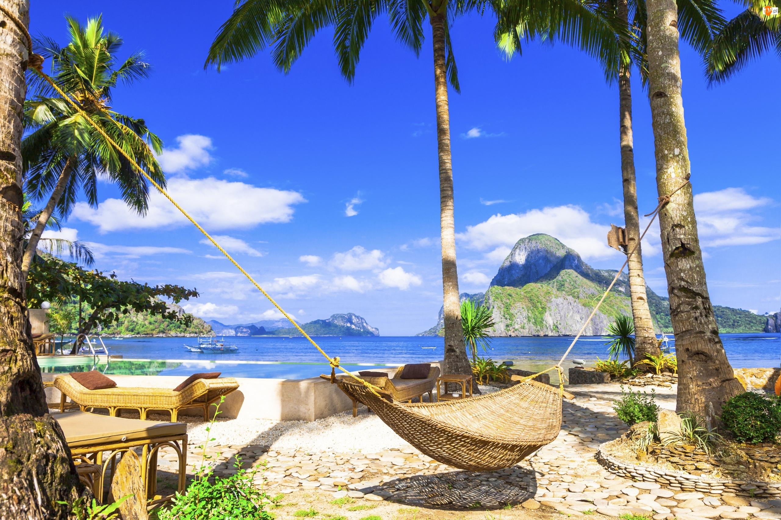 Hamak, Morze, Wyspa Boracay, Filipiny, Palmy, Lato, Sofy