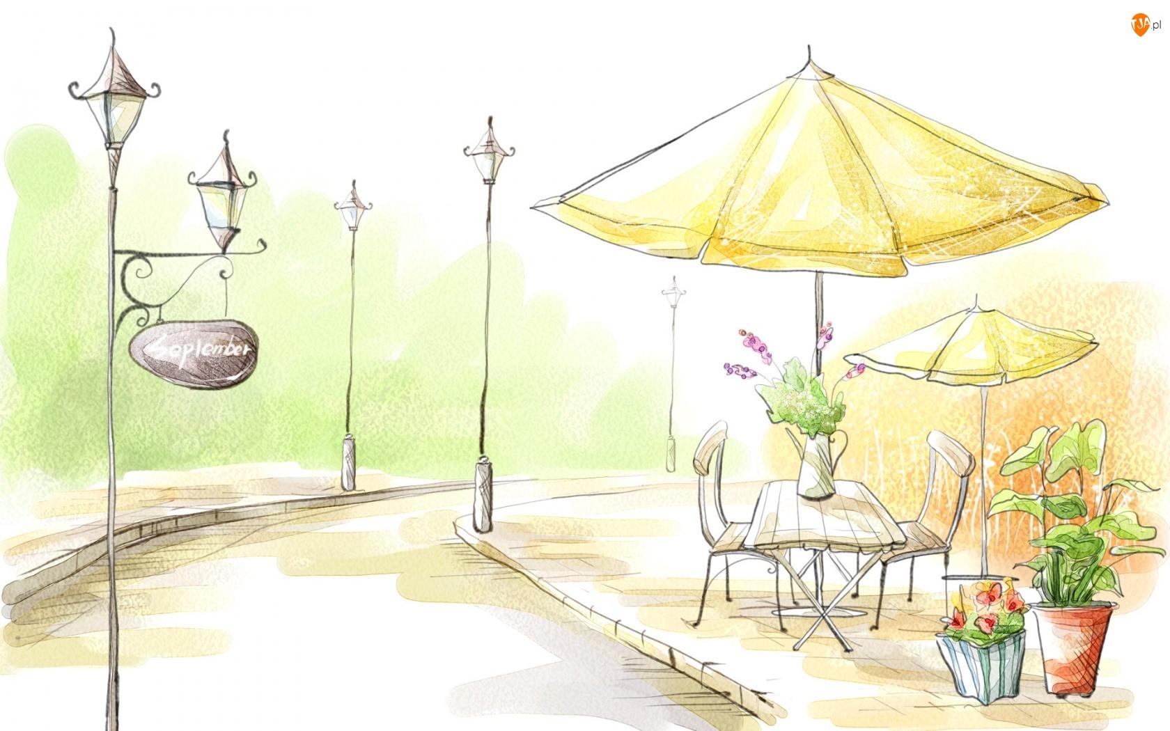 Uliczka, kwiaty Rysunek, Stolik, Parasol