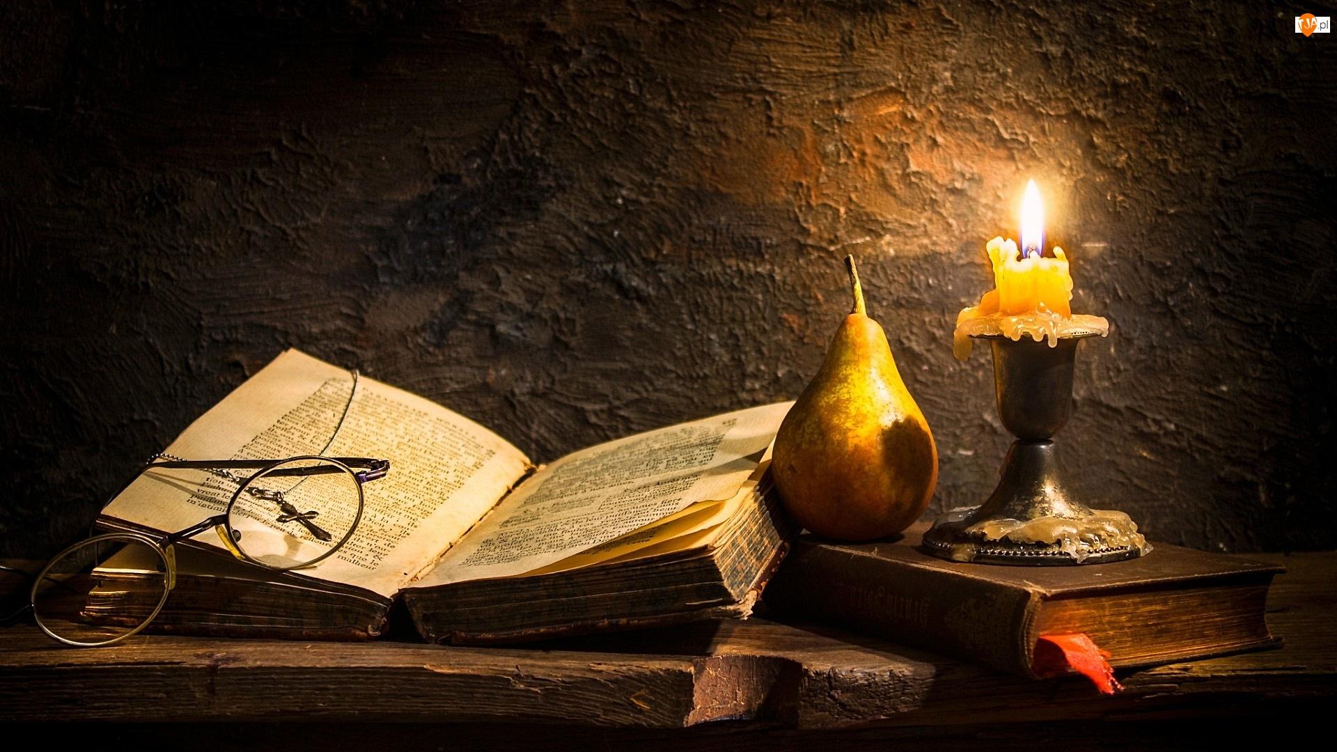Świeca, Modlitewnik, Kompozycja, Gruszka, Okulary, Książka