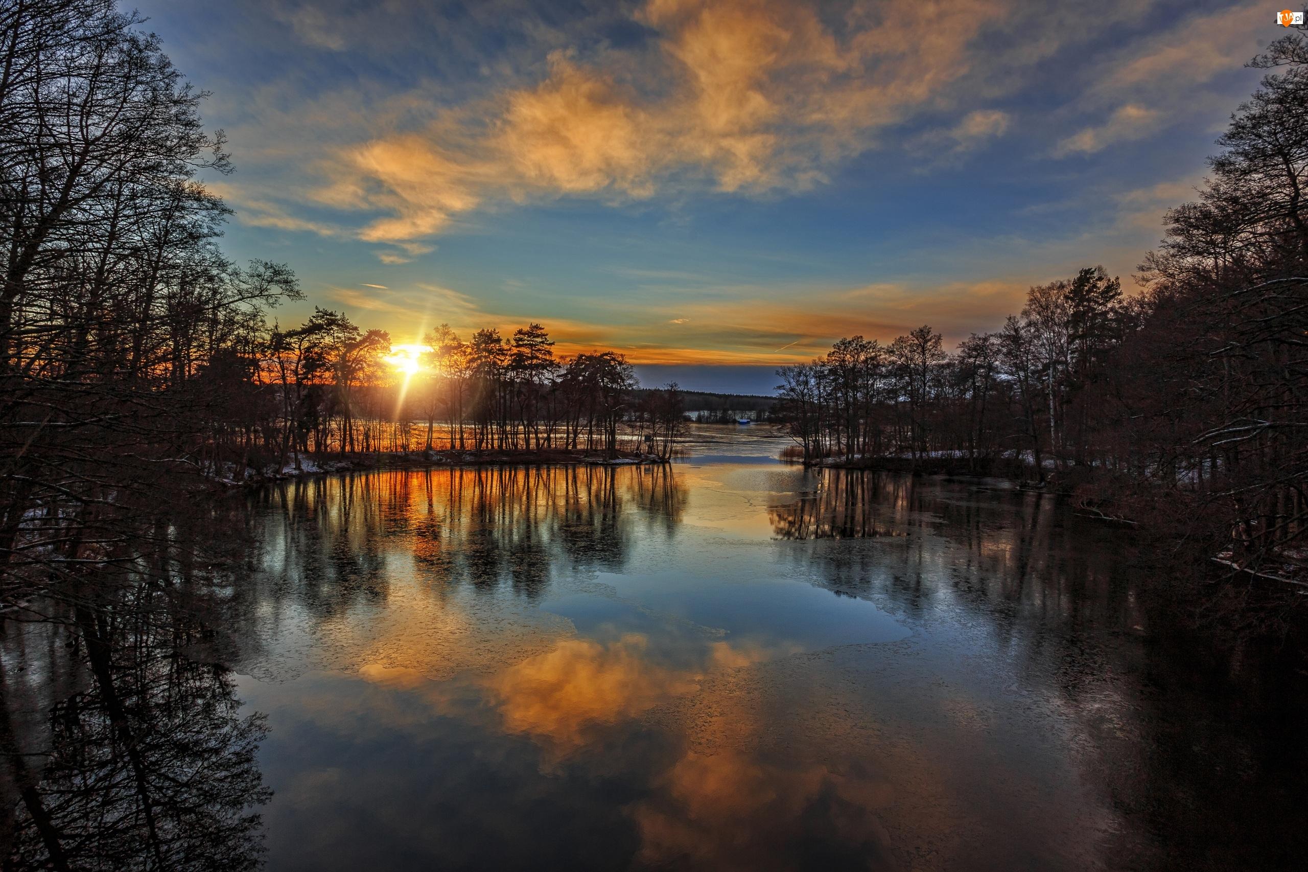 Rzeka, Odbicie, Zachód słońca, Drzewa