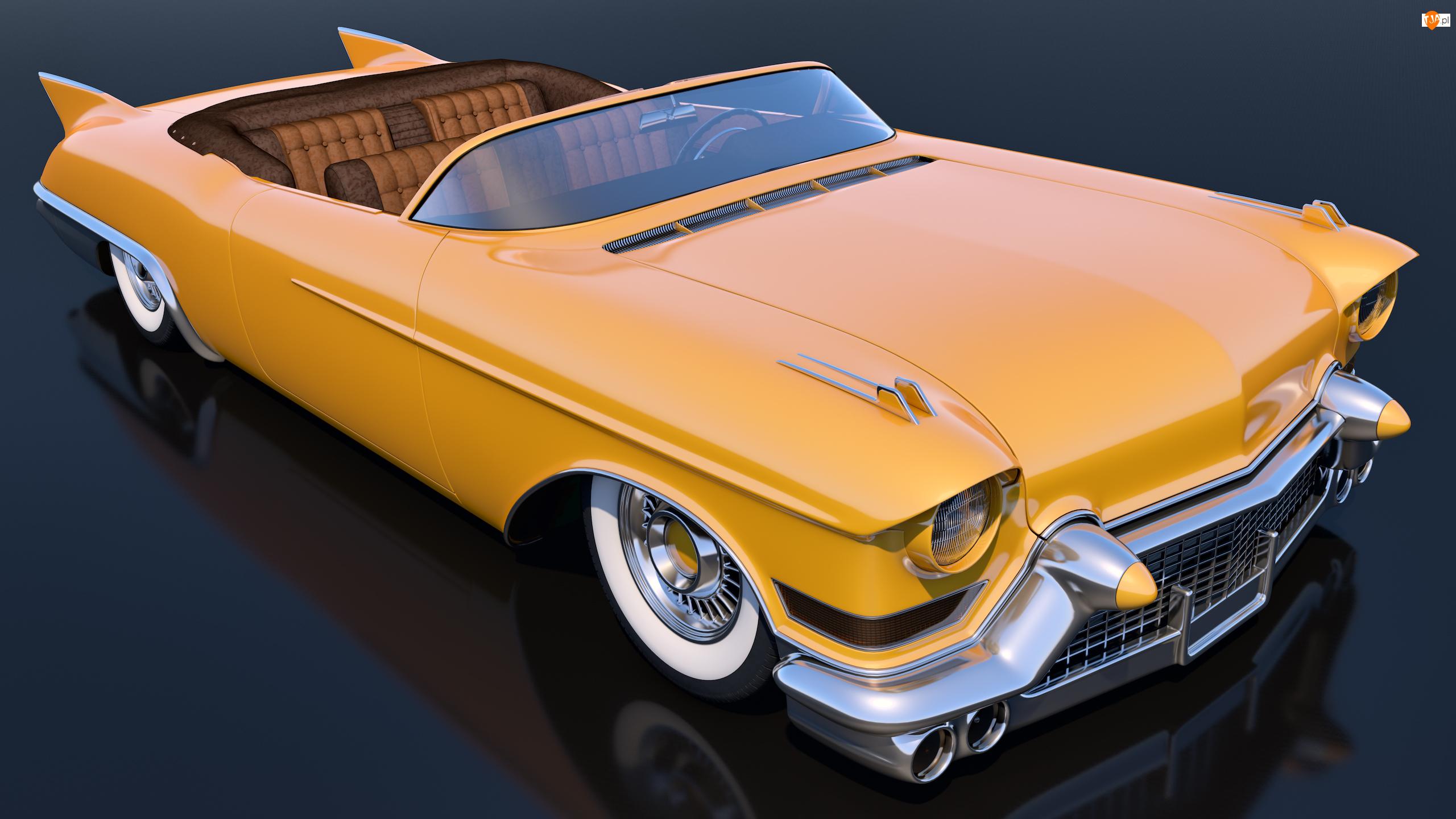 Zabytkowy, 1957, Żółty, Cadillac Eldorado Convertible