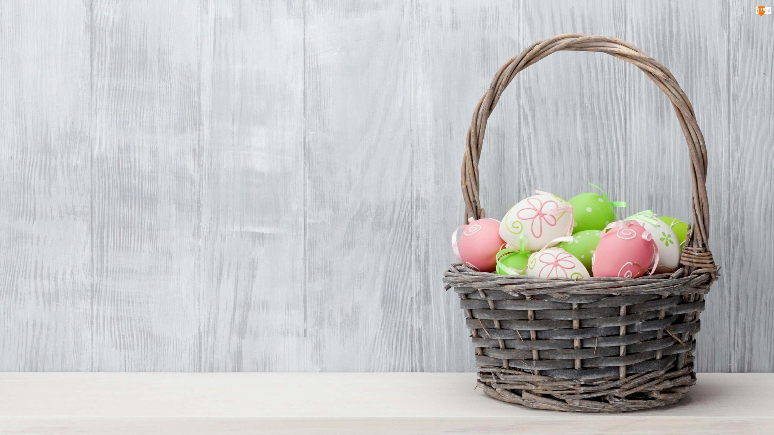 Wielkanoc, Koszyk, Dekoracja, Pisanki