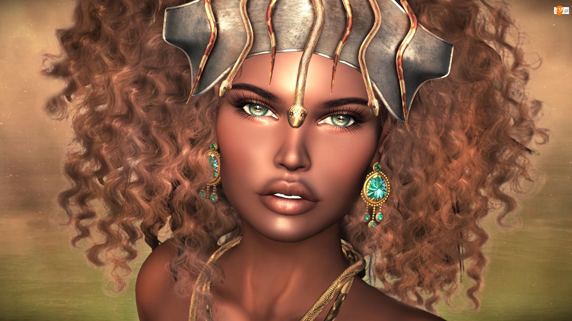 Włosy, Zielone, Mulatka, Biżuteria, Kobieta, Grafika 2D, Kręcone, Oczy