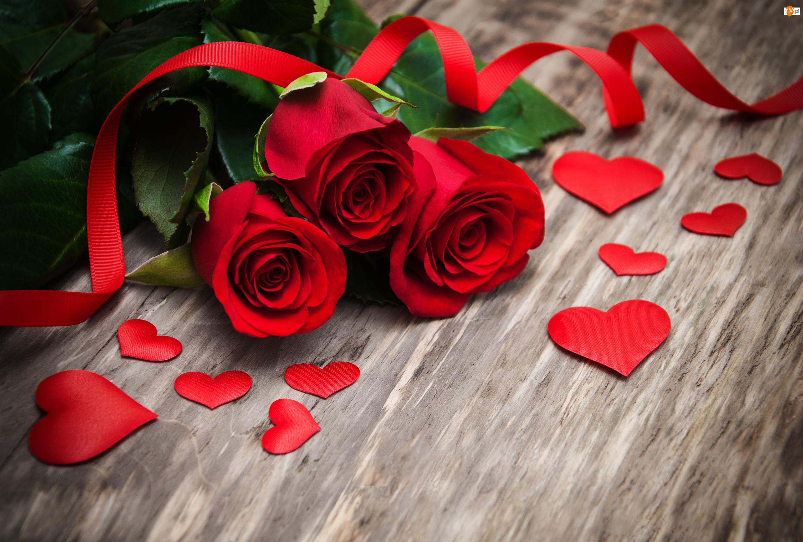 Walentynki, Róże, Serca, Czerwone, Wstążka