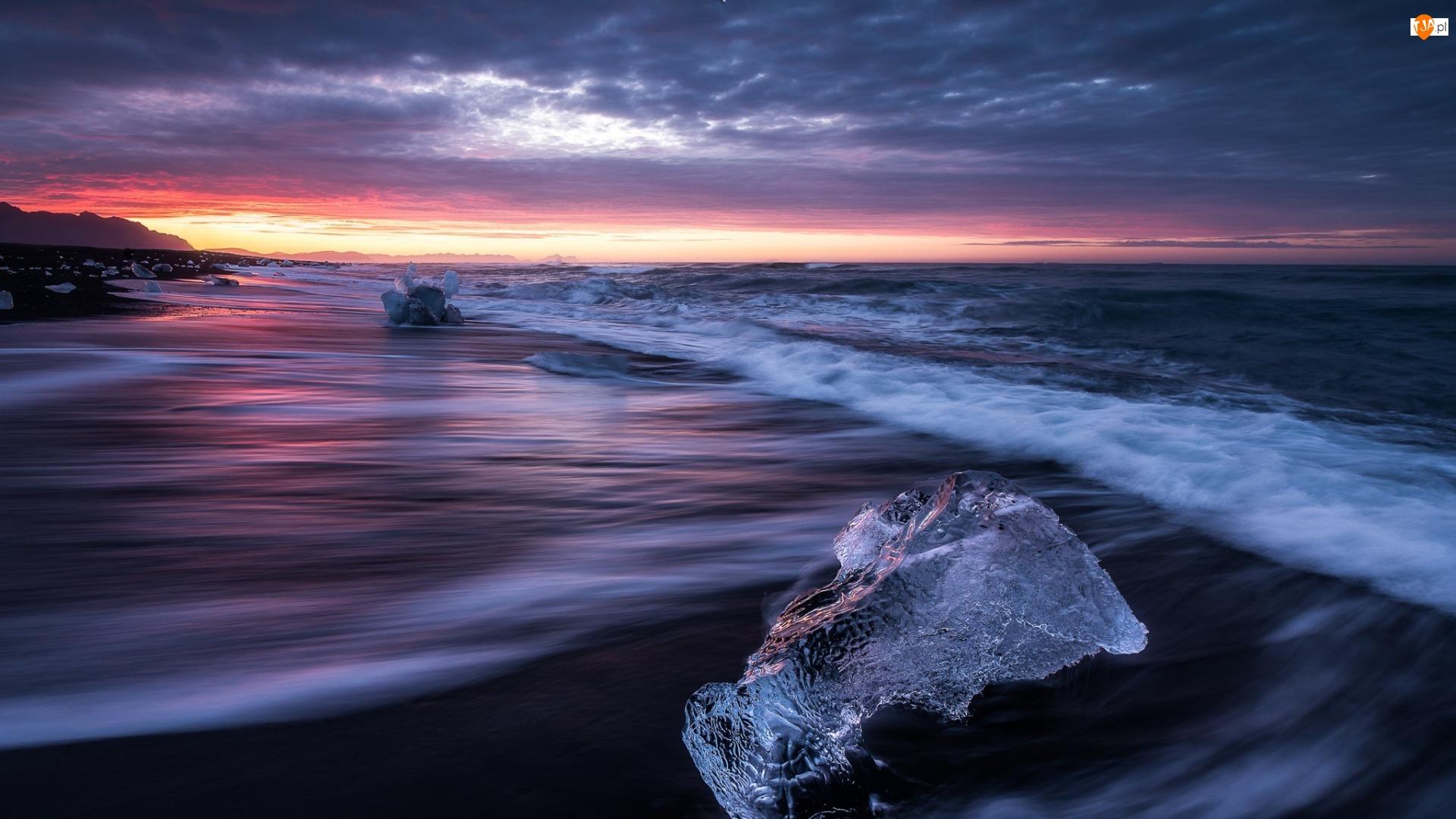 Lodu, Morze, Zachód słońca, Plaża, Bryły