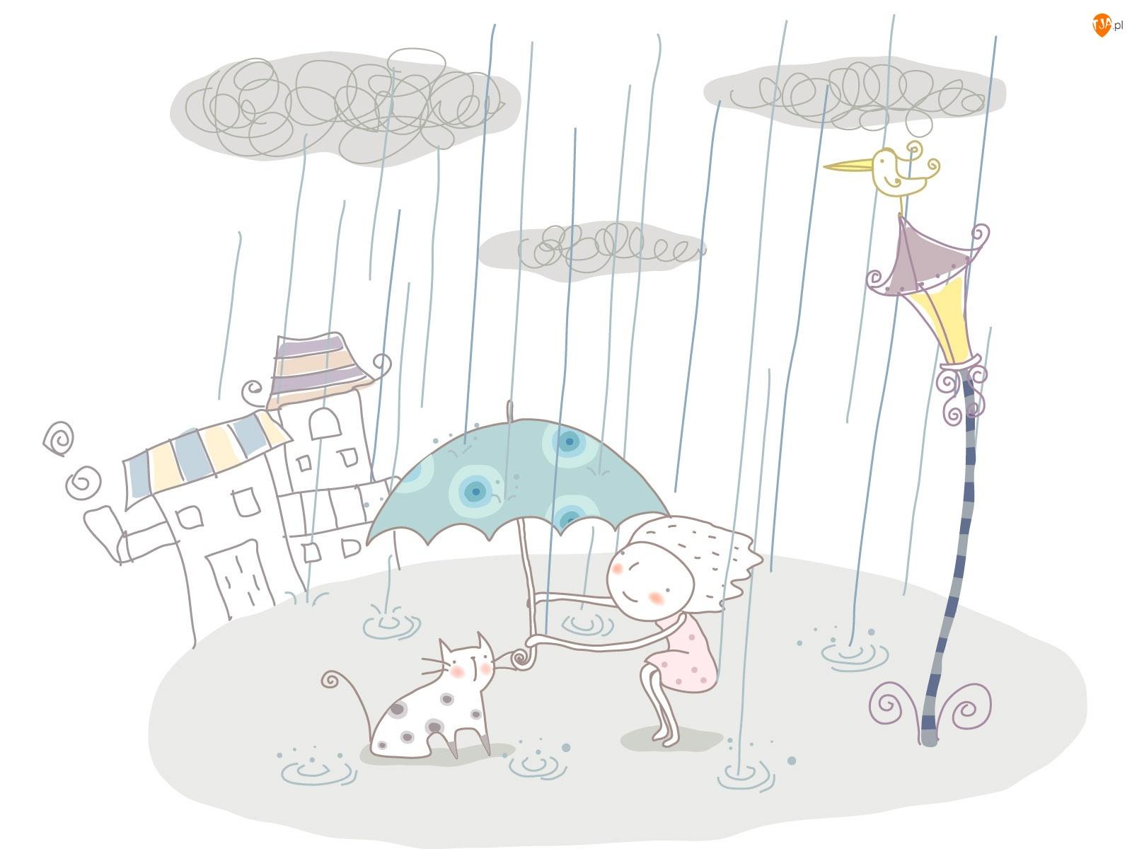 Dziewczynka, Parasol Dla dzieci, Deszcz, Kot