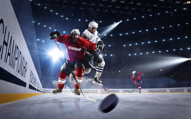 Hokej, Lodowisko, Zawodnicy, Światła