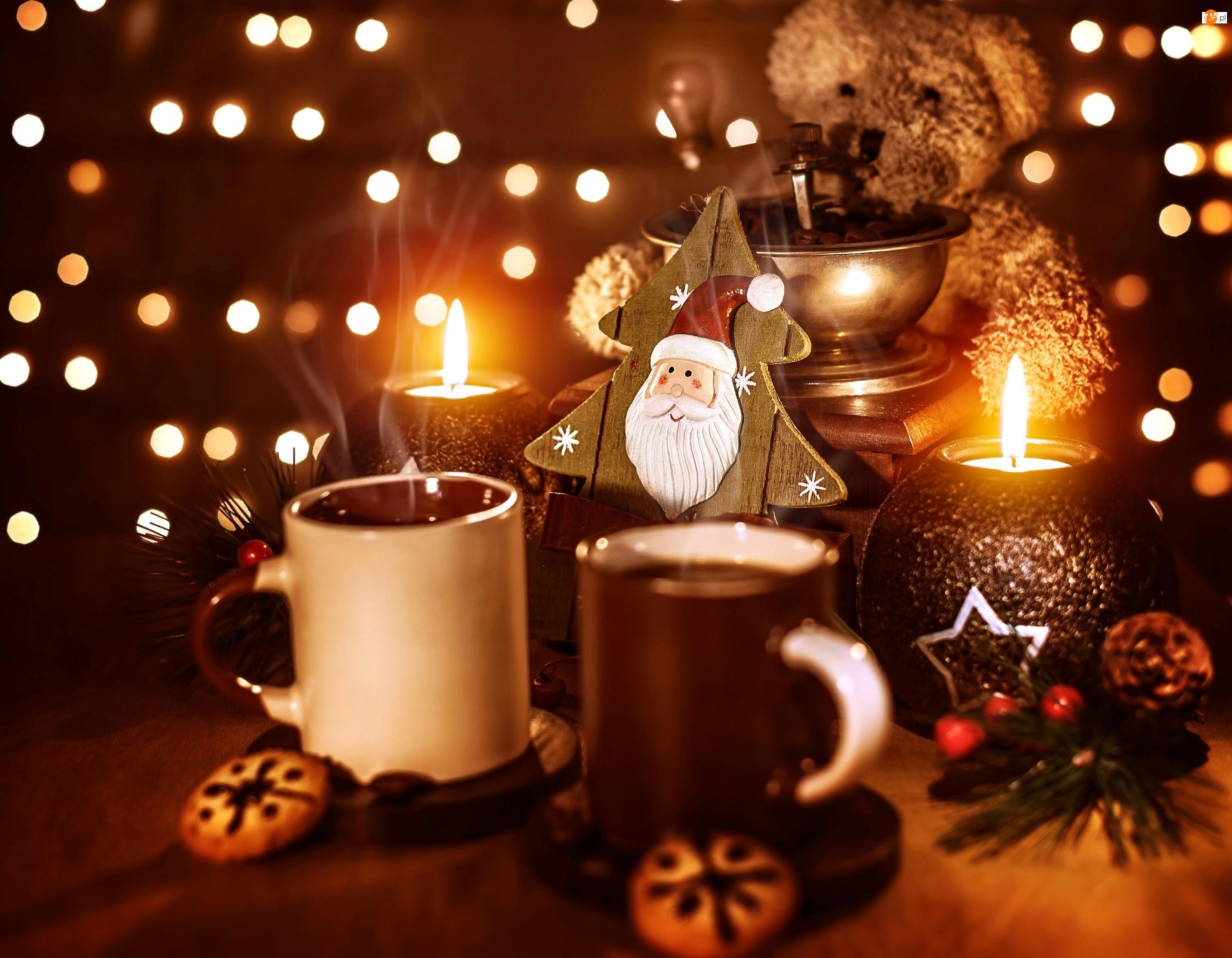 Mikołaj, Świąteczna, Dekoracja, Kawa, Świece