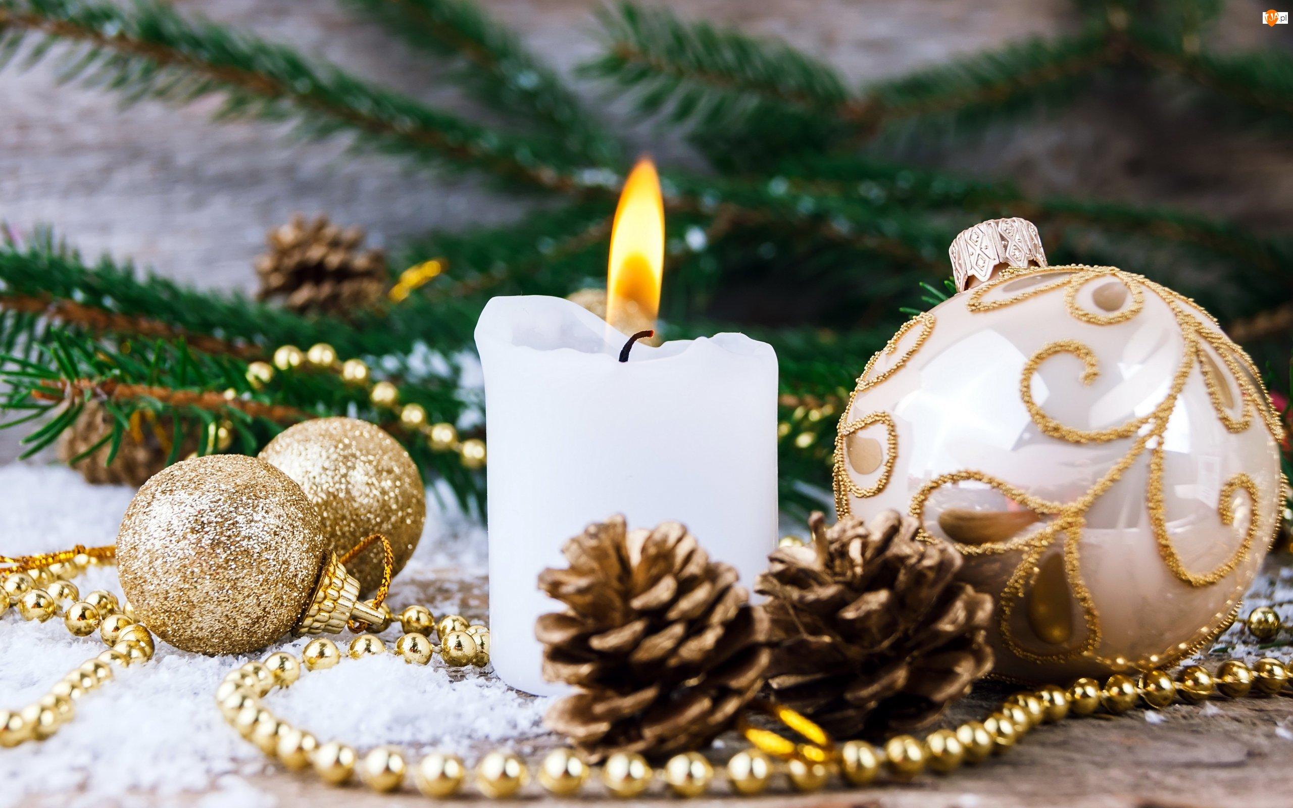 Świeczka, Świąteczna, Bombki, Stroik, Biała, Kompozycja