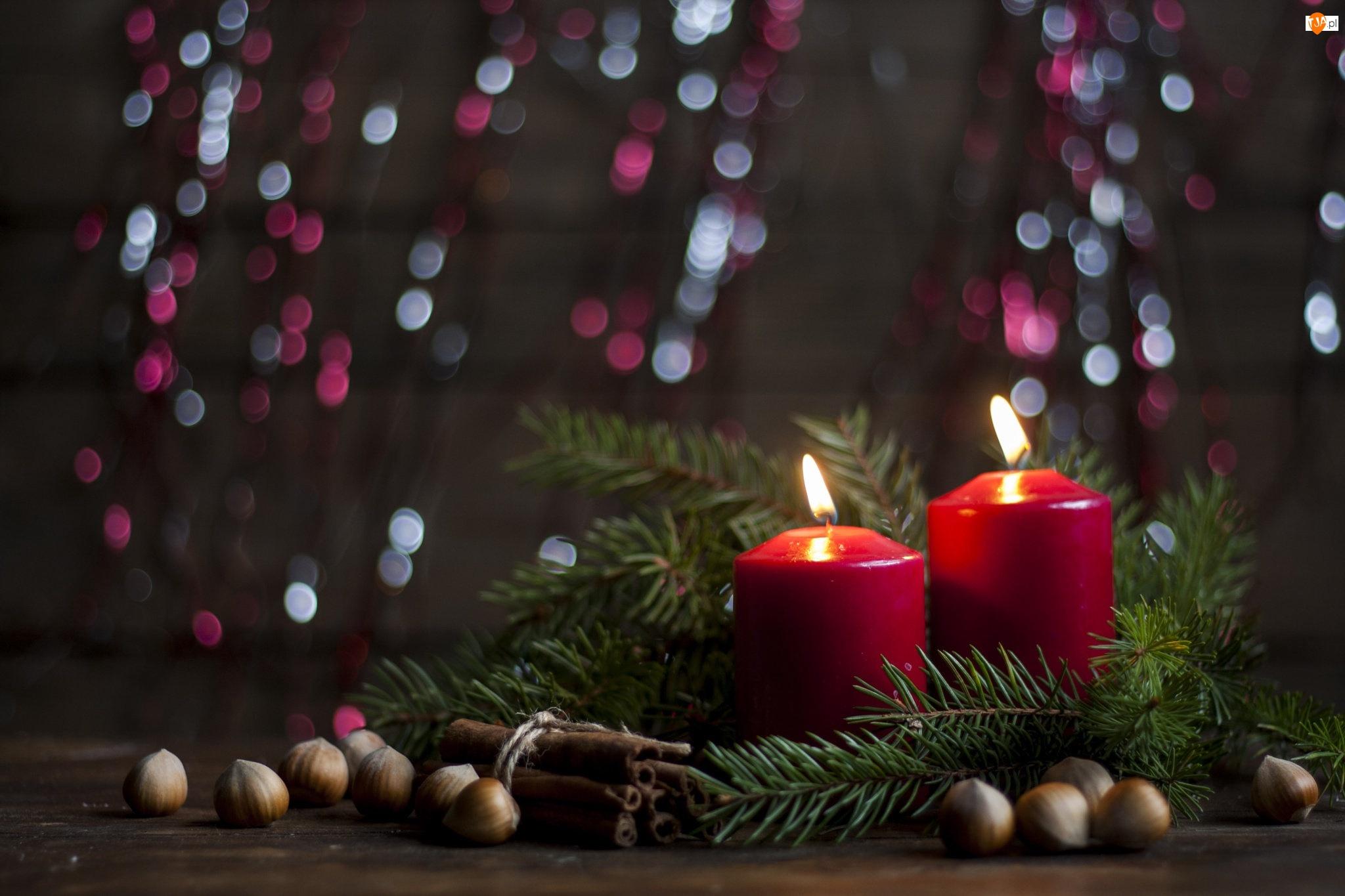 Świeczki, Dekoracja, Stroik, Świąteczny, Czerwone